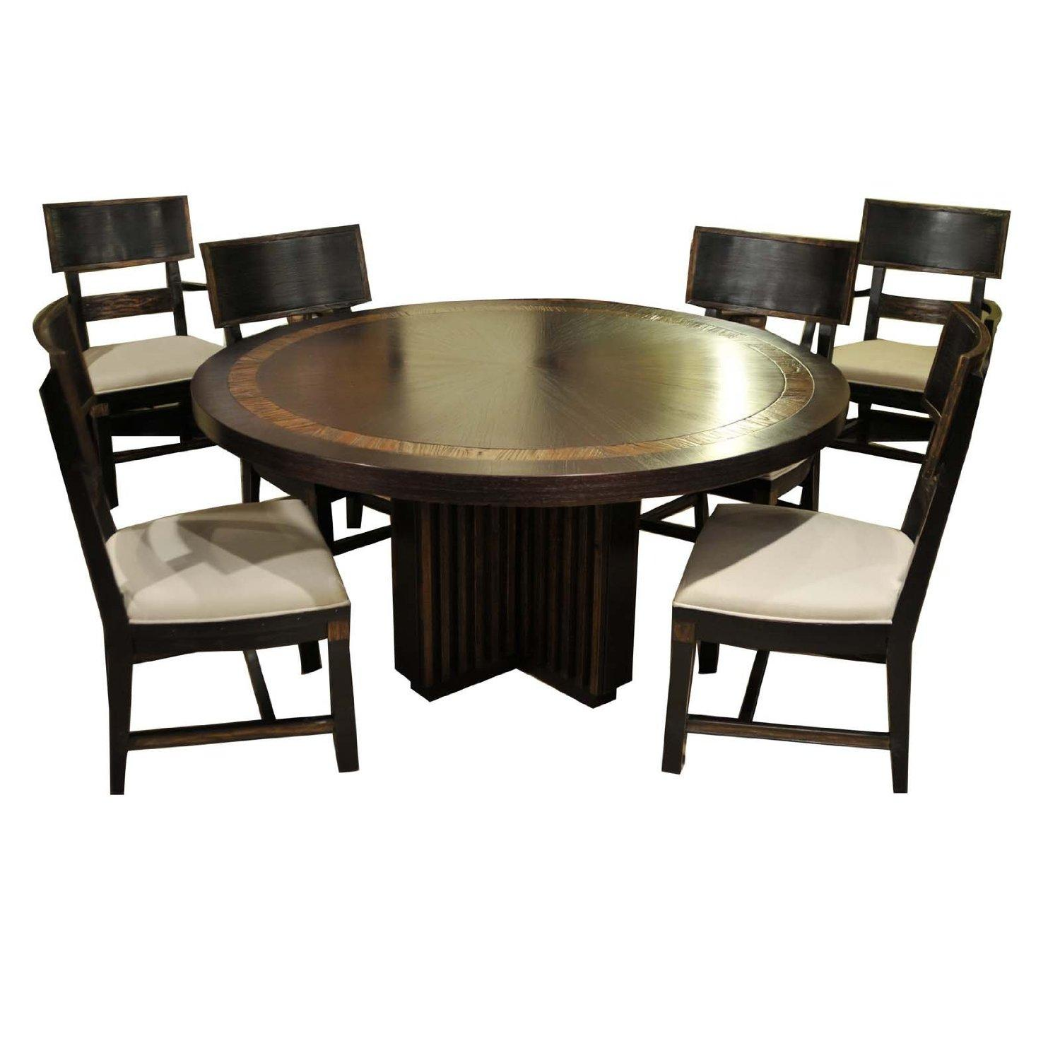 Round Table And Chairs For 6: Transitional Round Dining Table & 6 Chairs