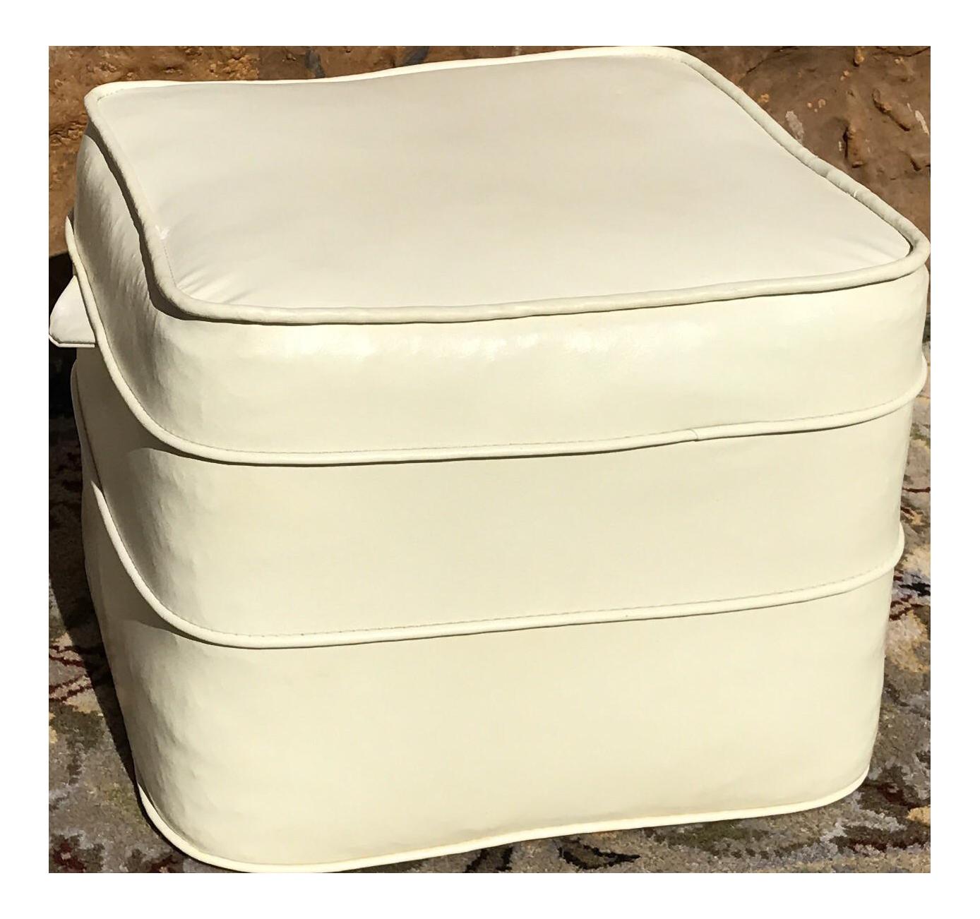 Mid century hassock cream footstool chairish for Small storage hassocks