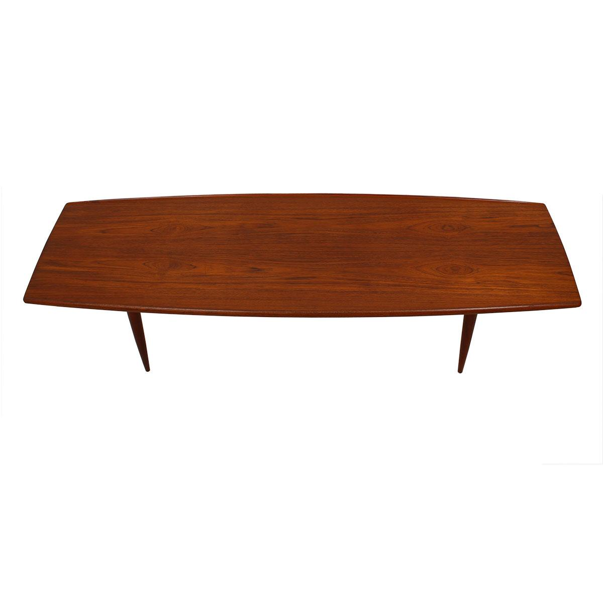 Teak Oil Coffee Table: Long Danish Modern Teak Surfboard Coffee Table