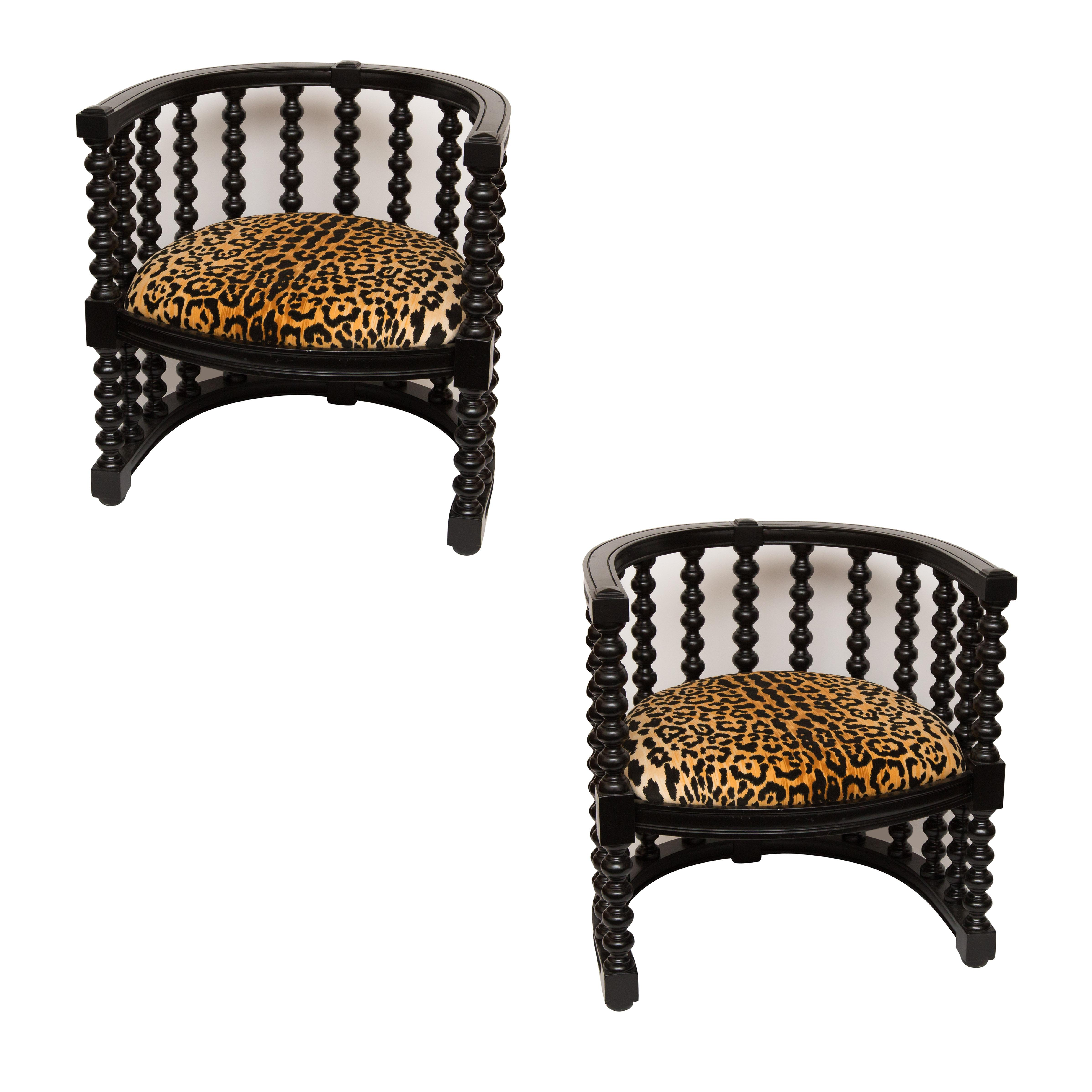 Spindle Back Barrel Faux Leopard Chairs Pair