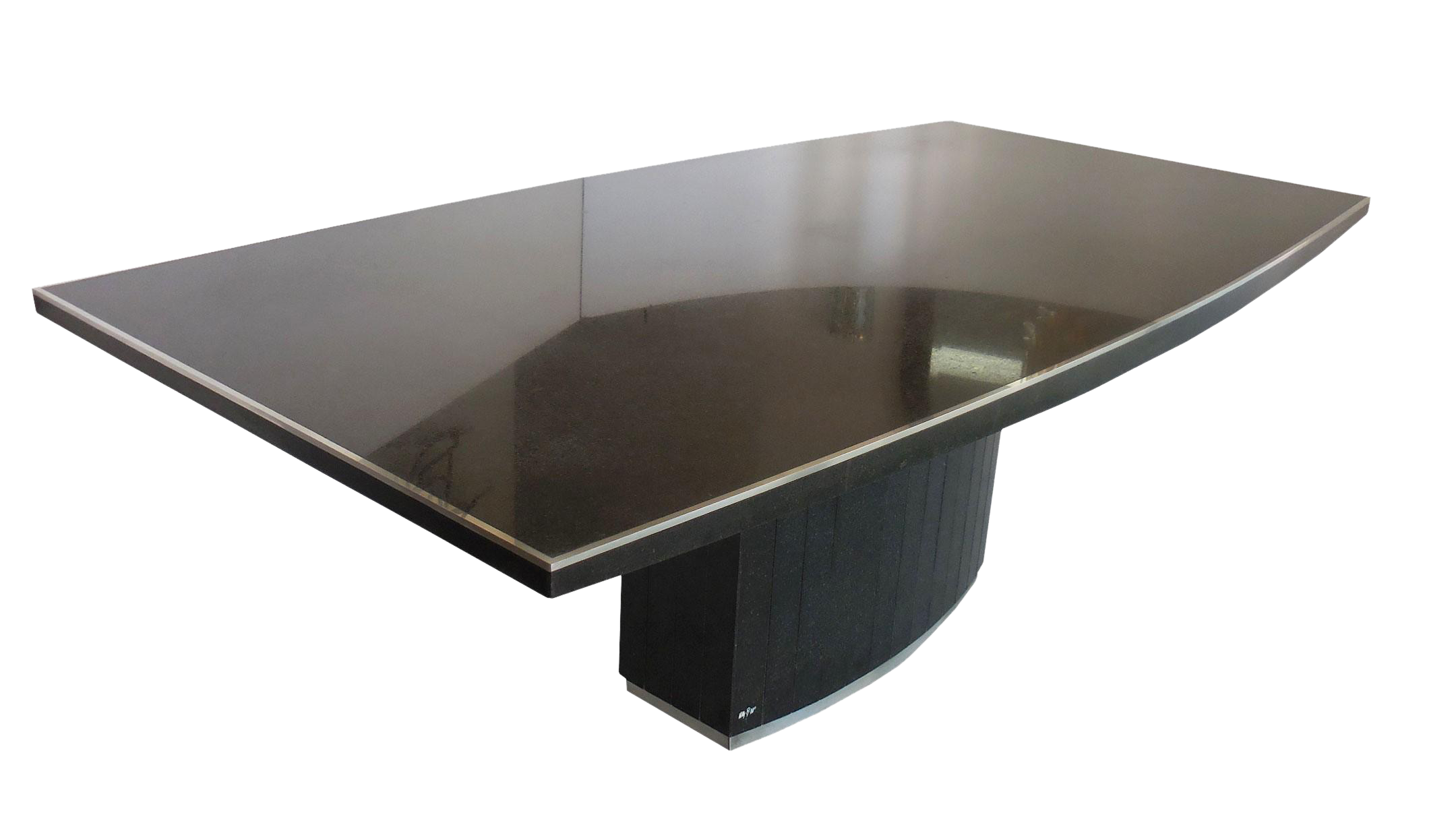 Exquisite rare black granite and stainless steel dining table by exquisite rare black granite and stainless steel dining table by willy rizzo decaso geotapseo Image collections