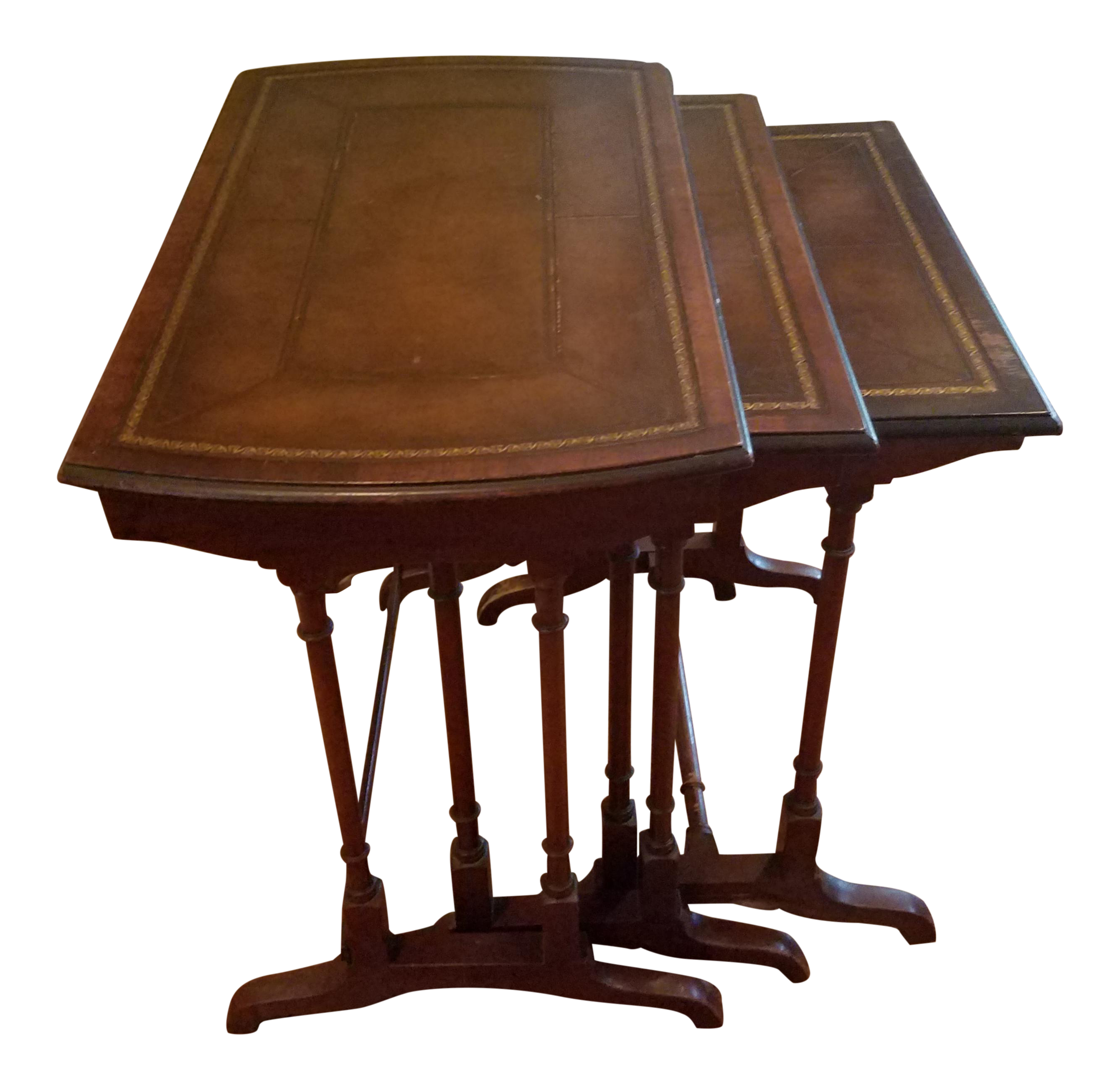 Mahogany stacking side tables set of 3 chairish for Small stackable coffee tables