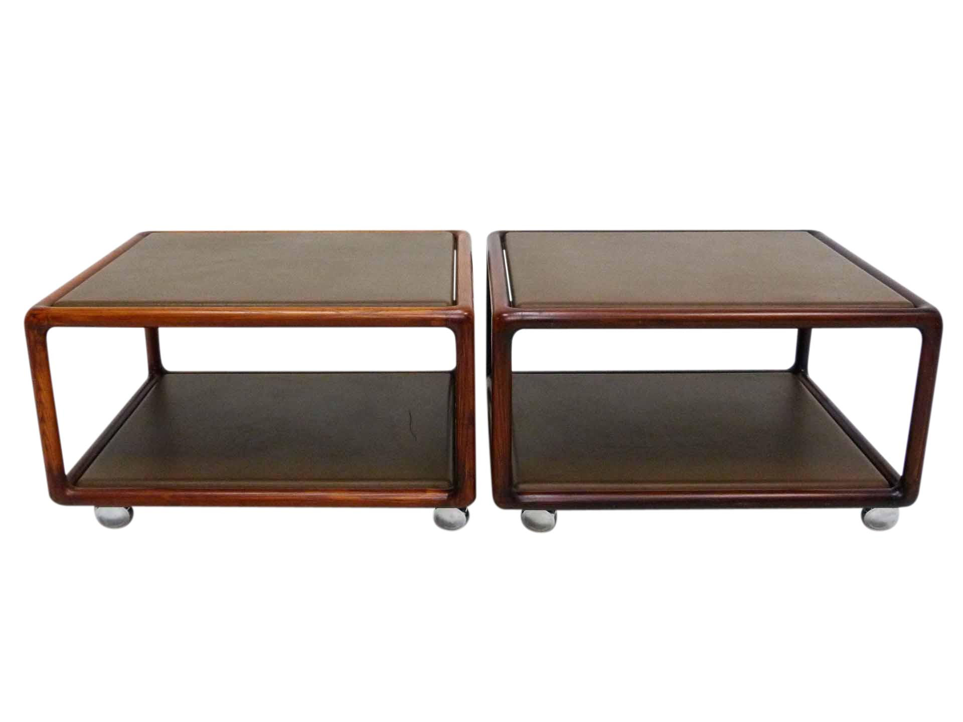 Ward Bennett Leather Tables On Casters A Pair Chairish