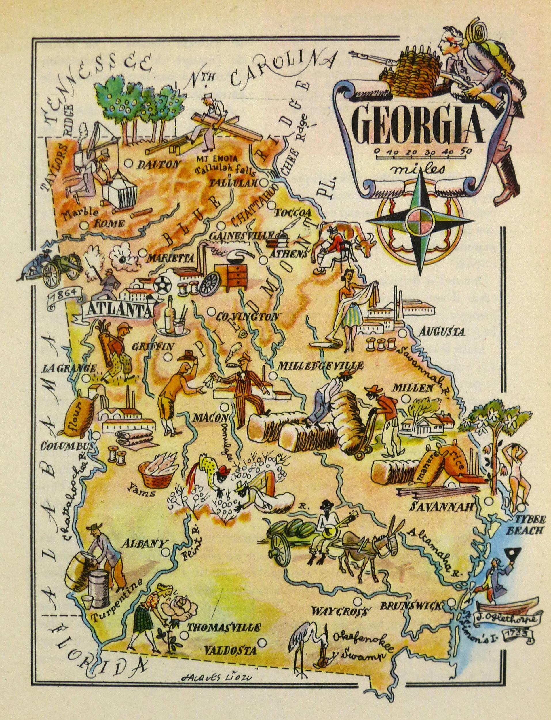 Vintage Georgia Pictorial Map 1946 Chairish