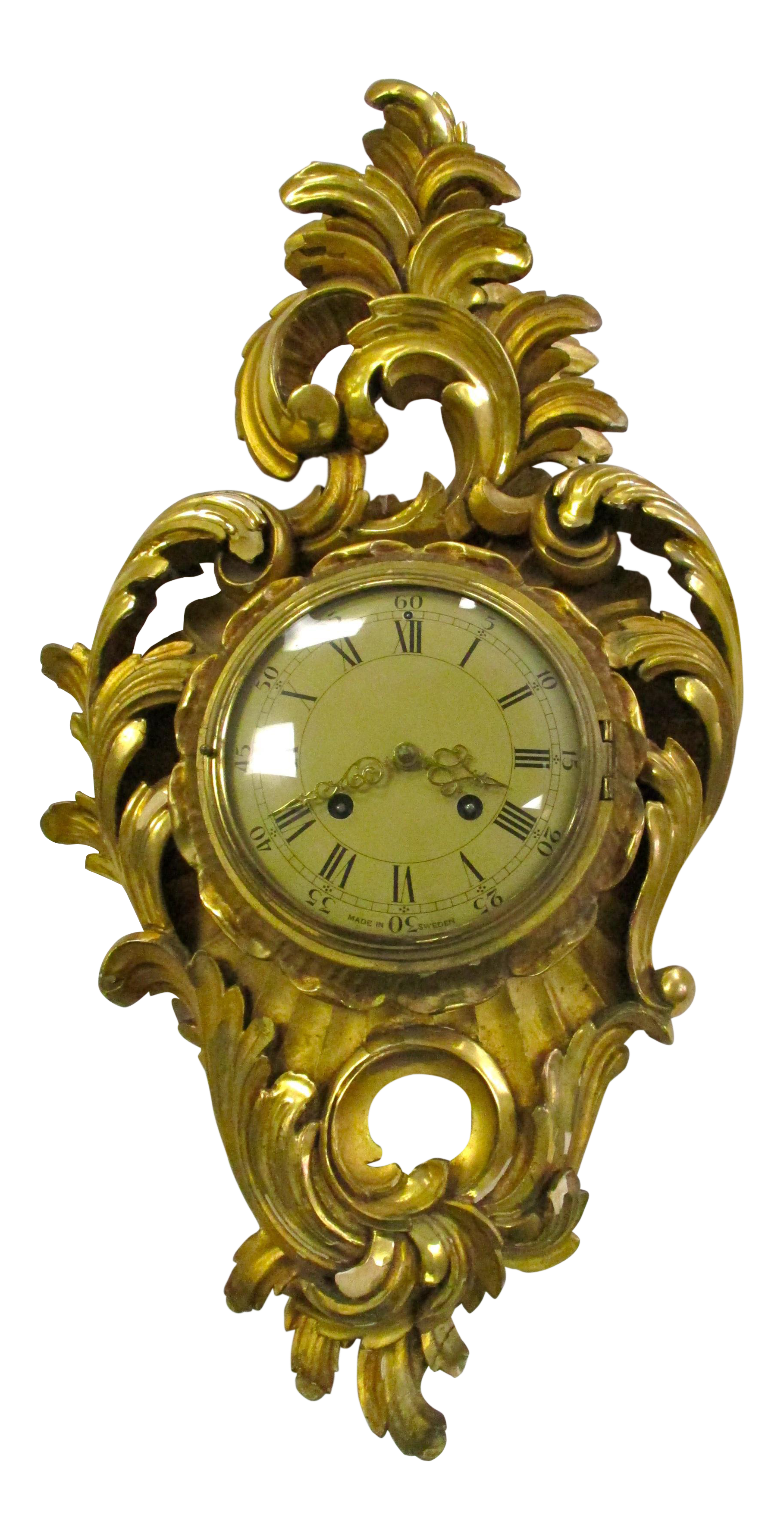 Antique Swedish Gold Gilt Wall Clock Chairish