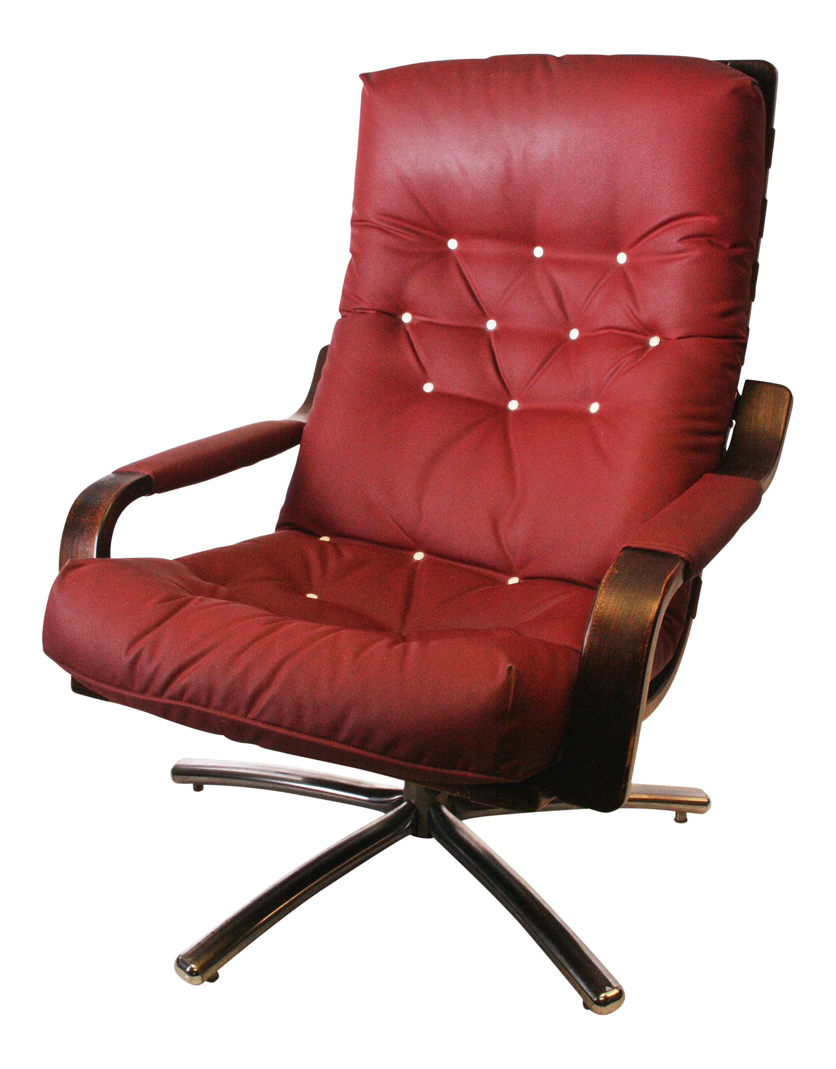 Mid century modern burgundy stressless lounge chair chairish for Designer chairs for less
