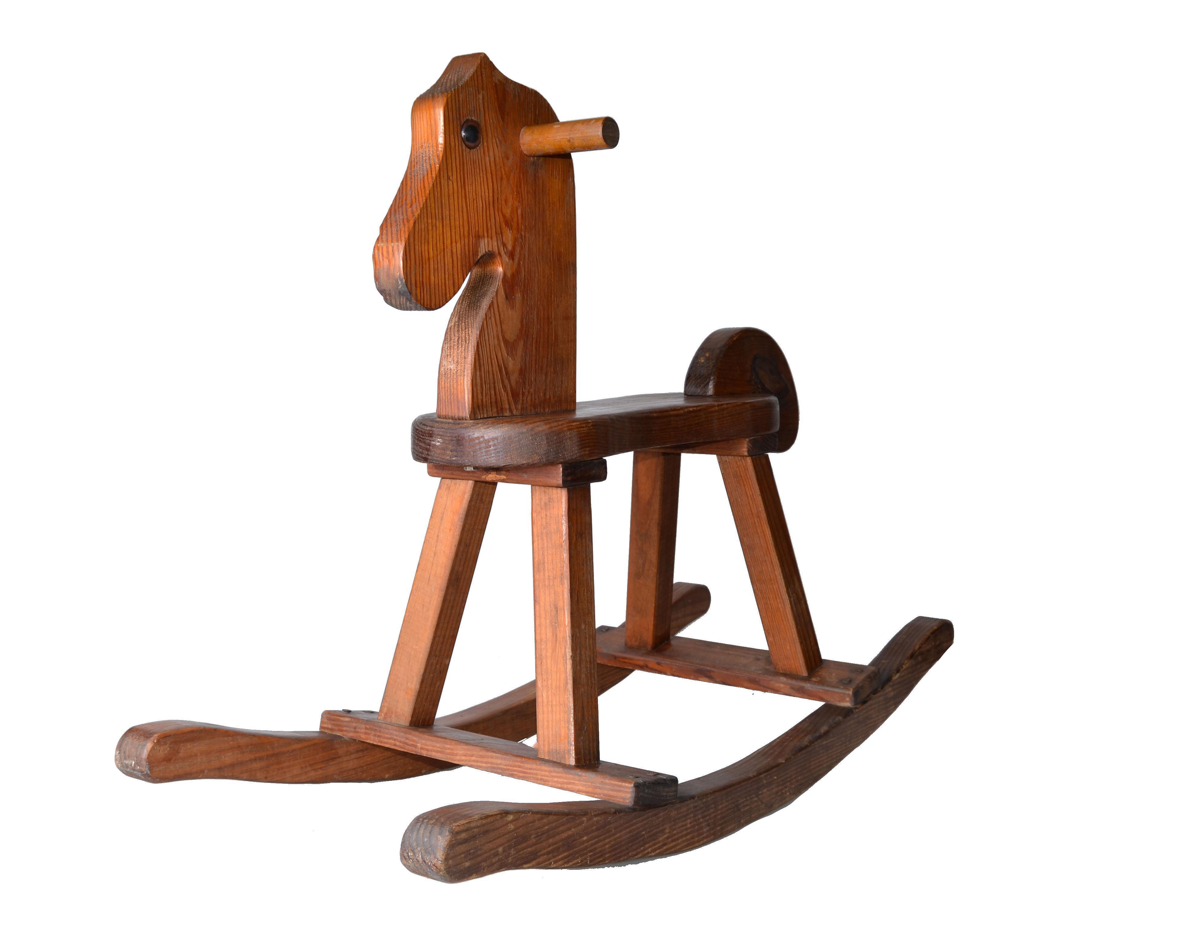 birch wood midcentury modern rocking horse  chairish - image of birch wood midcentury modern rocking horse