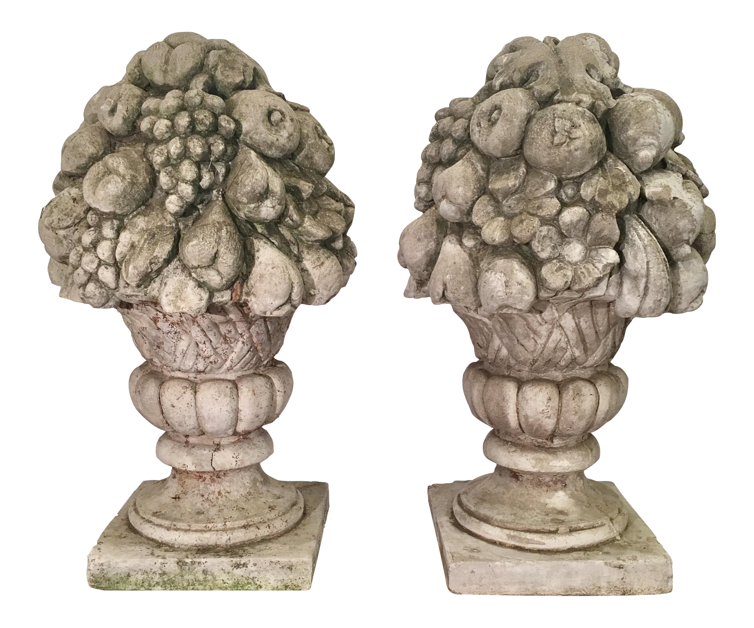 Exceptional Pair of Huge Antique Fruit Basket Cement Garden