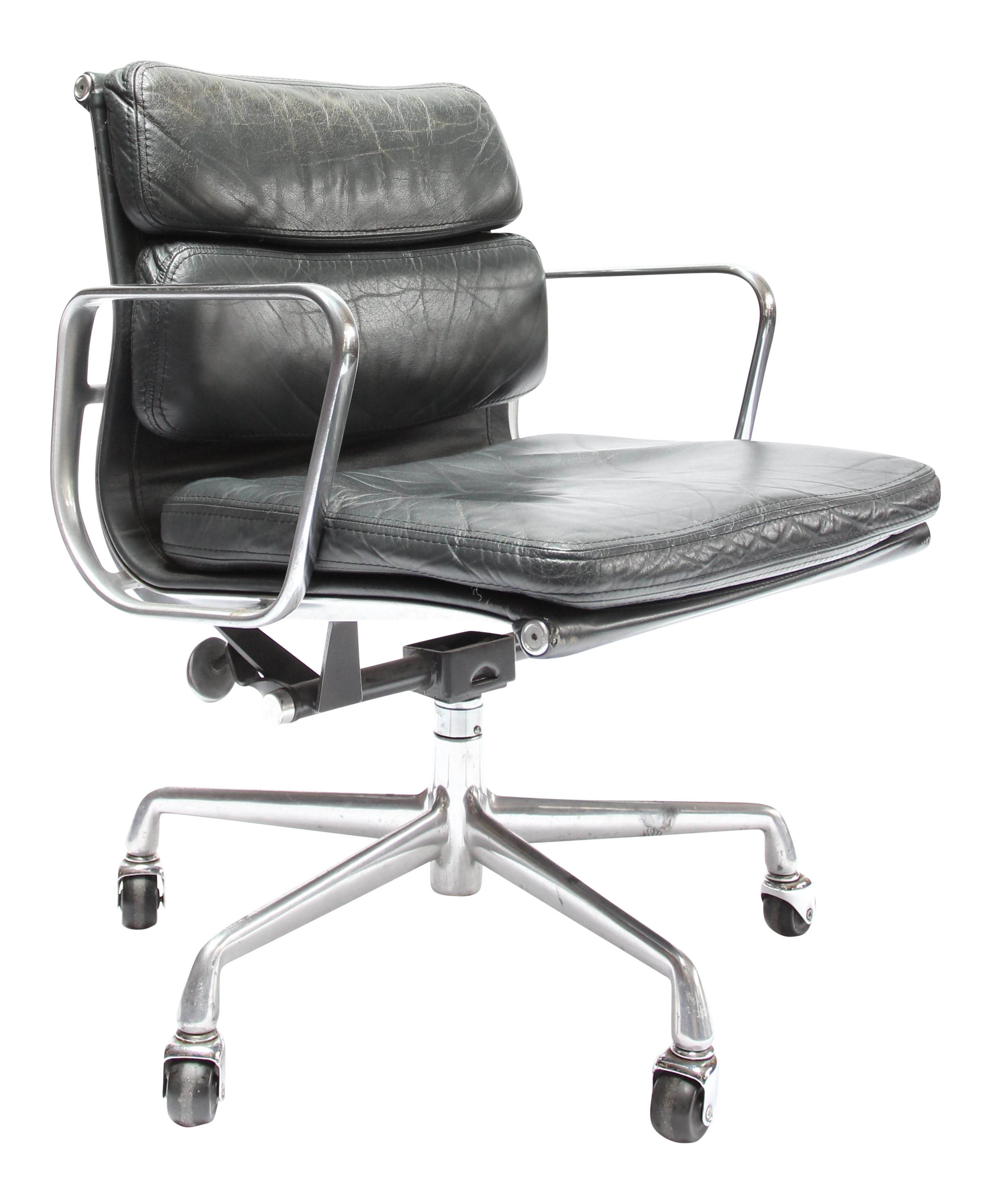 Black leather armless chair - Vintage Eames Soft Pad Chair For Herman Miller