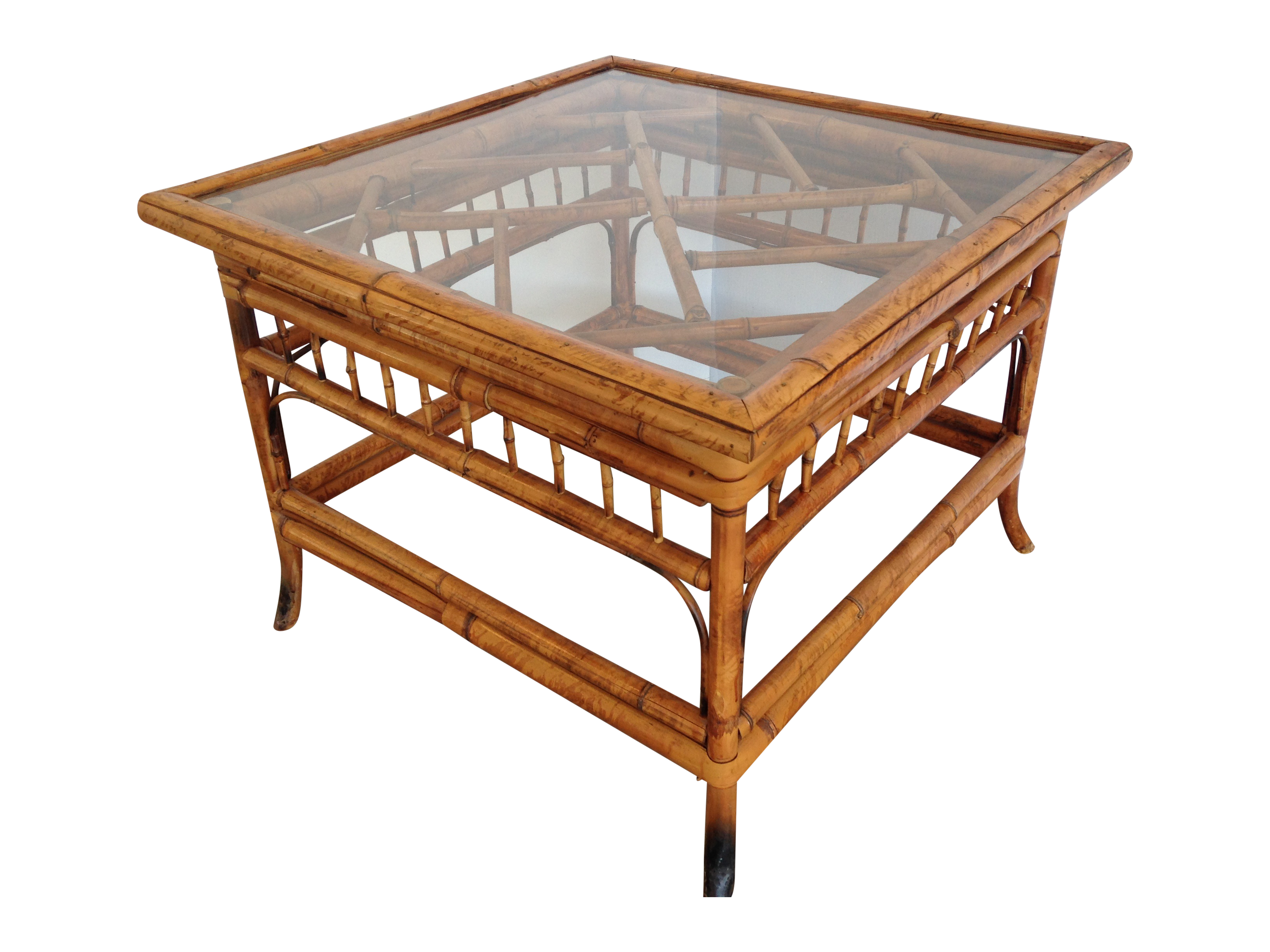 Vintage bamboo glass top square side table chairish for Bamboo side table