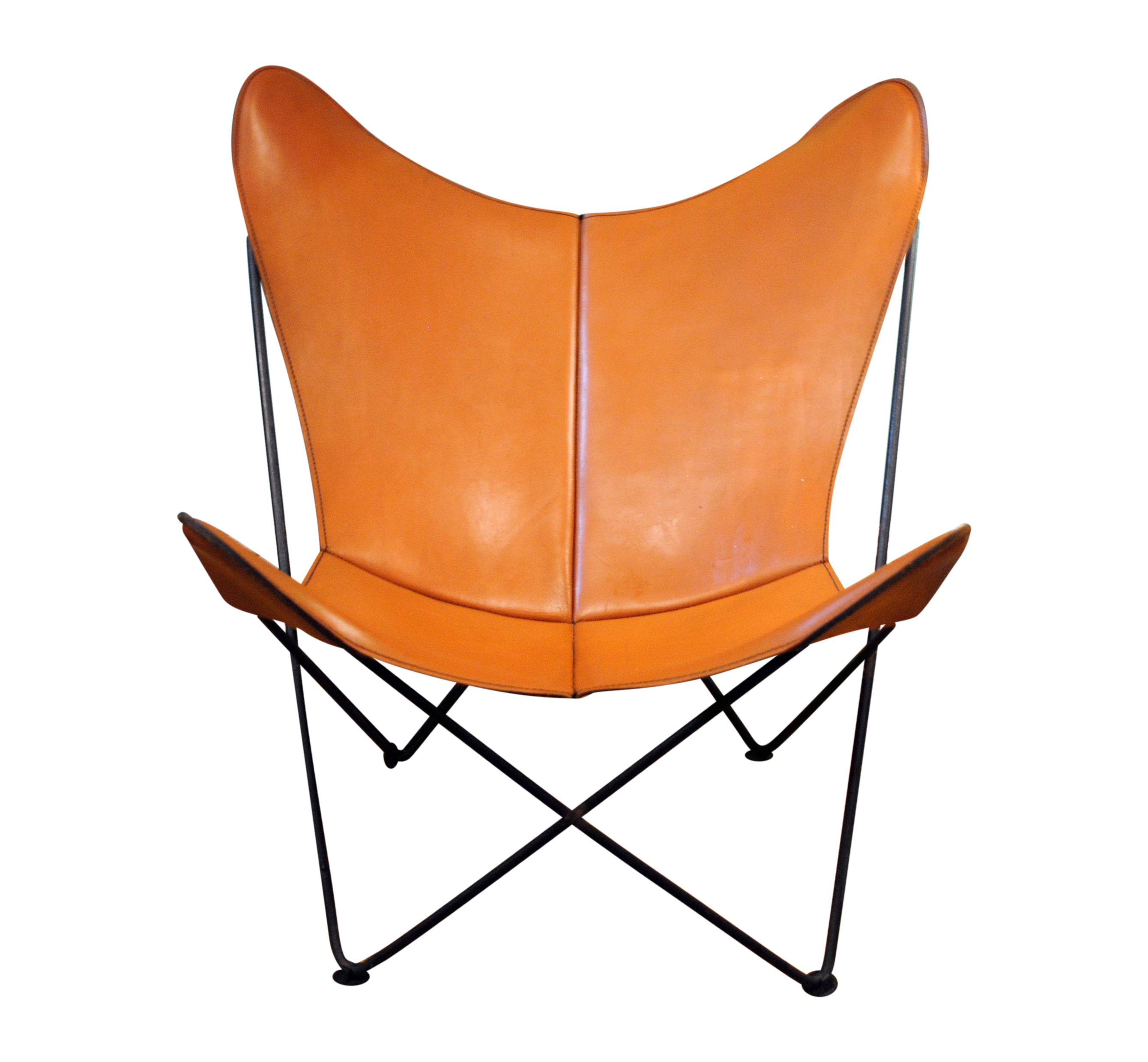 mid century leather butterfly chair chairish. Black Bedroom Furniture Sets. Home Design Ideas
