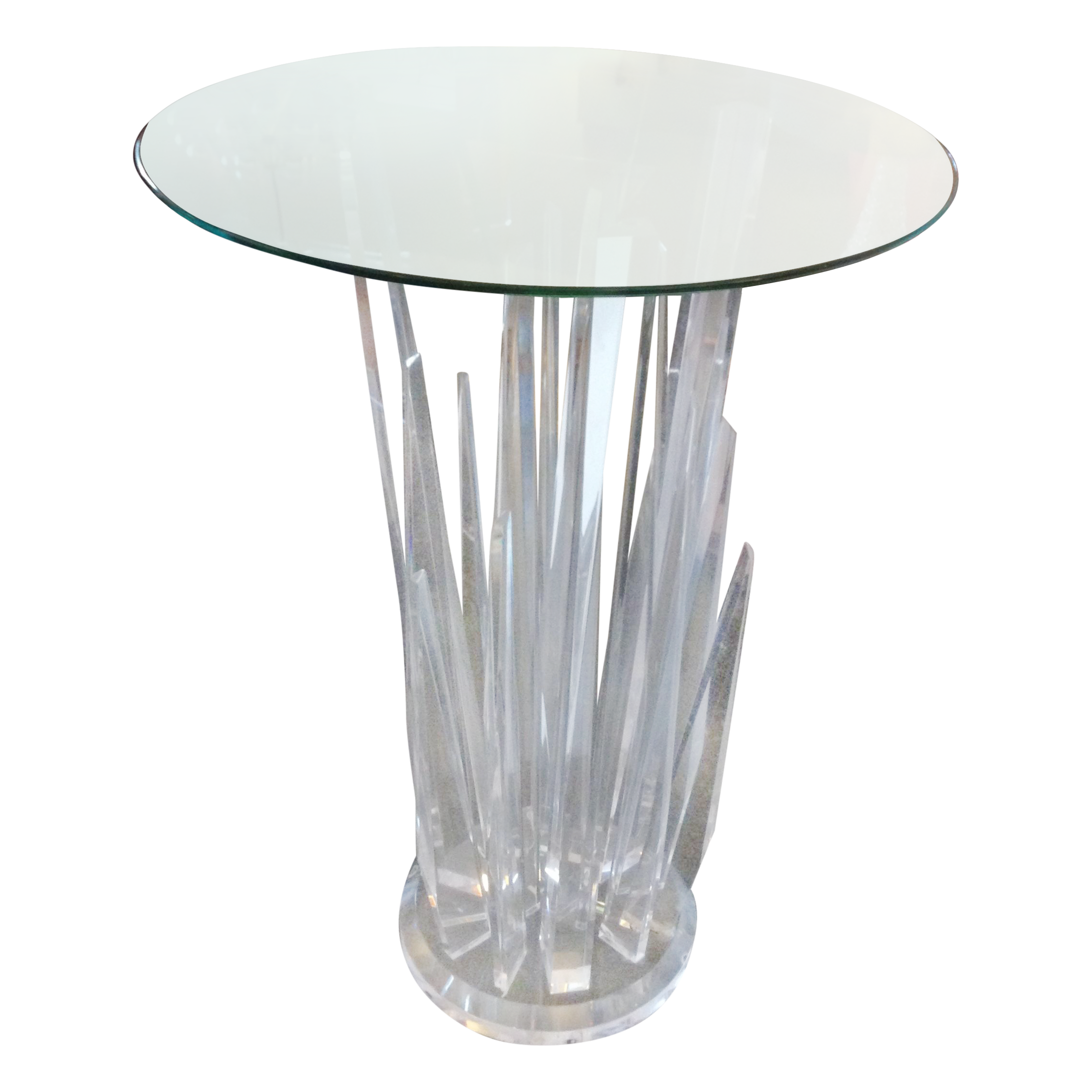 Haziza rock bar lucite crystal table chairish - Chaise polycarbonate transparent ...