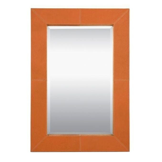 Made goods orange leather brooke mirror chairish for Brooke mirror