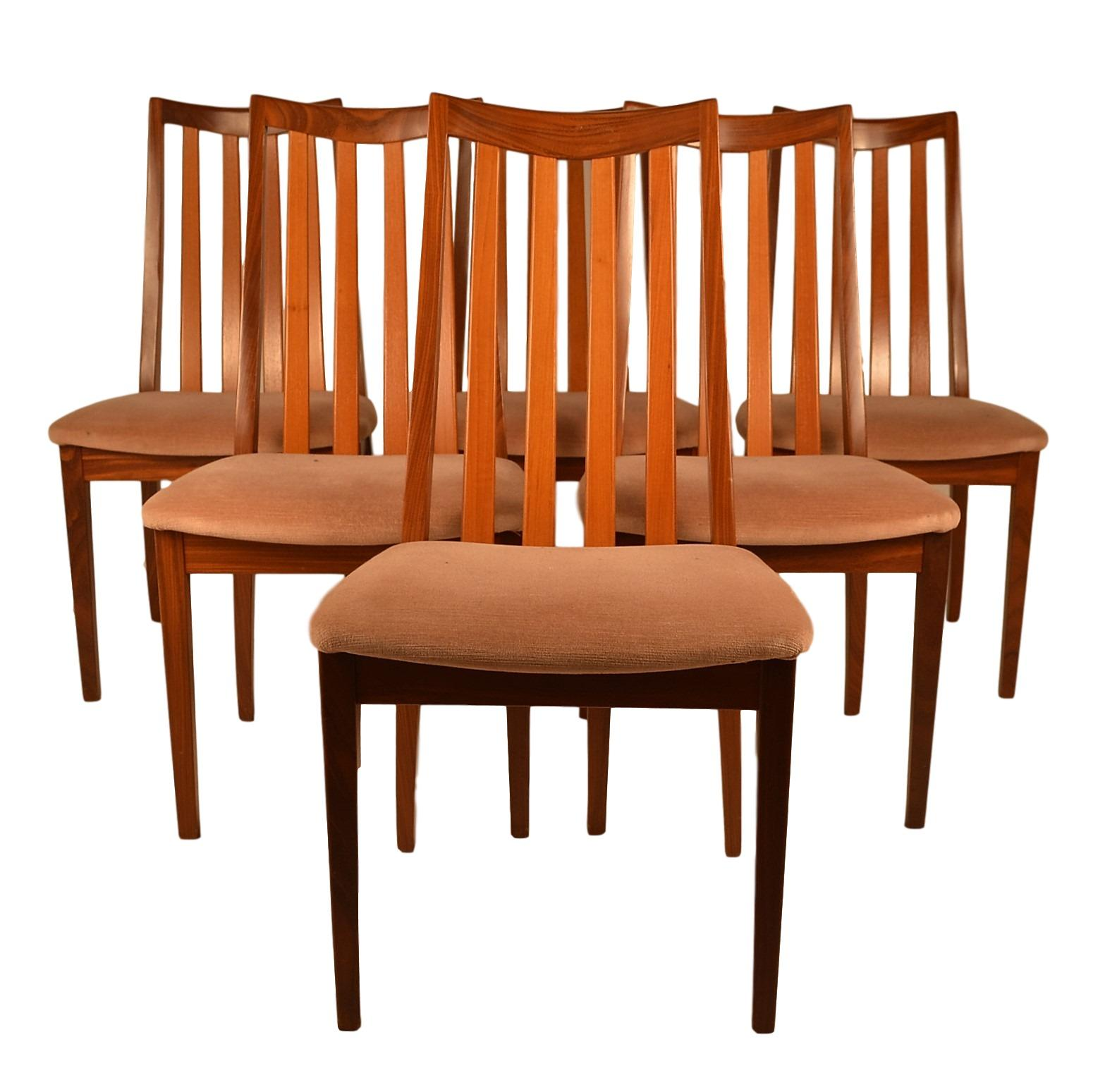 Teak dining chairs by g plan set of 6 chairish for G plan teak dining room chairs