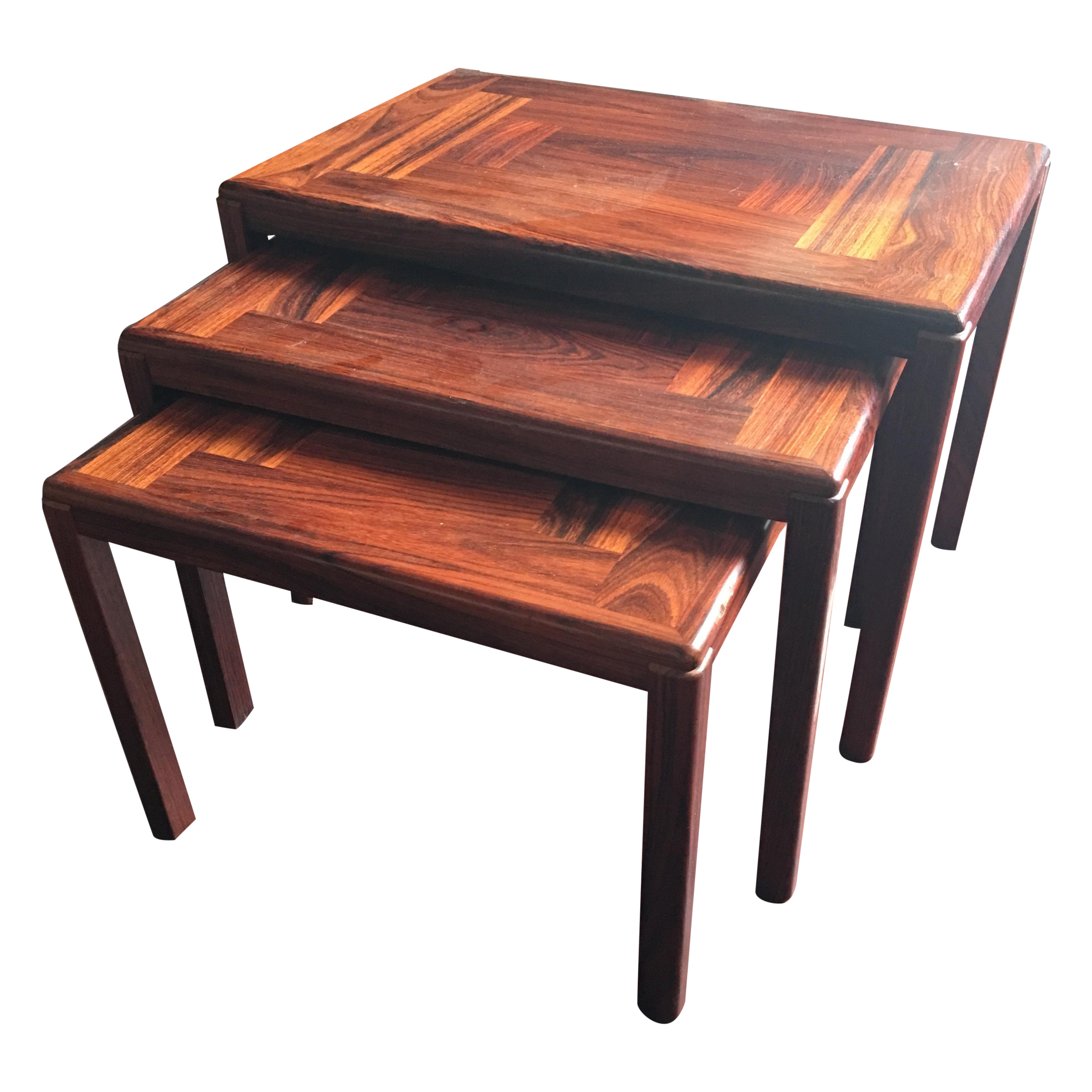 Modern Danish Nesting Tables Chairish. Full resolution  image, nominally Width 3024 Height 3025 pixels, image with #BB5910.