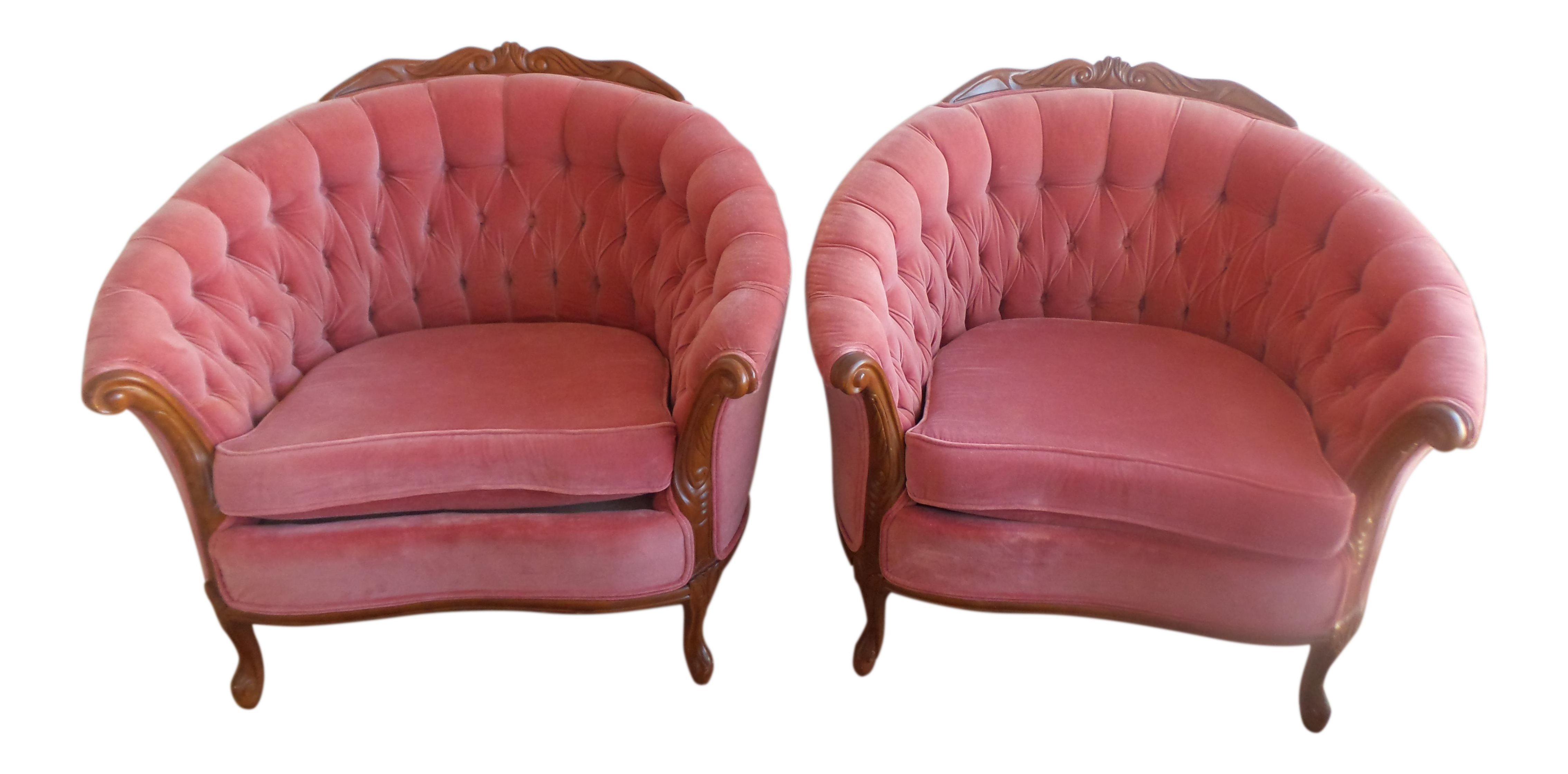 Vintage French Provincial Velvet Tub Chairs A Pair