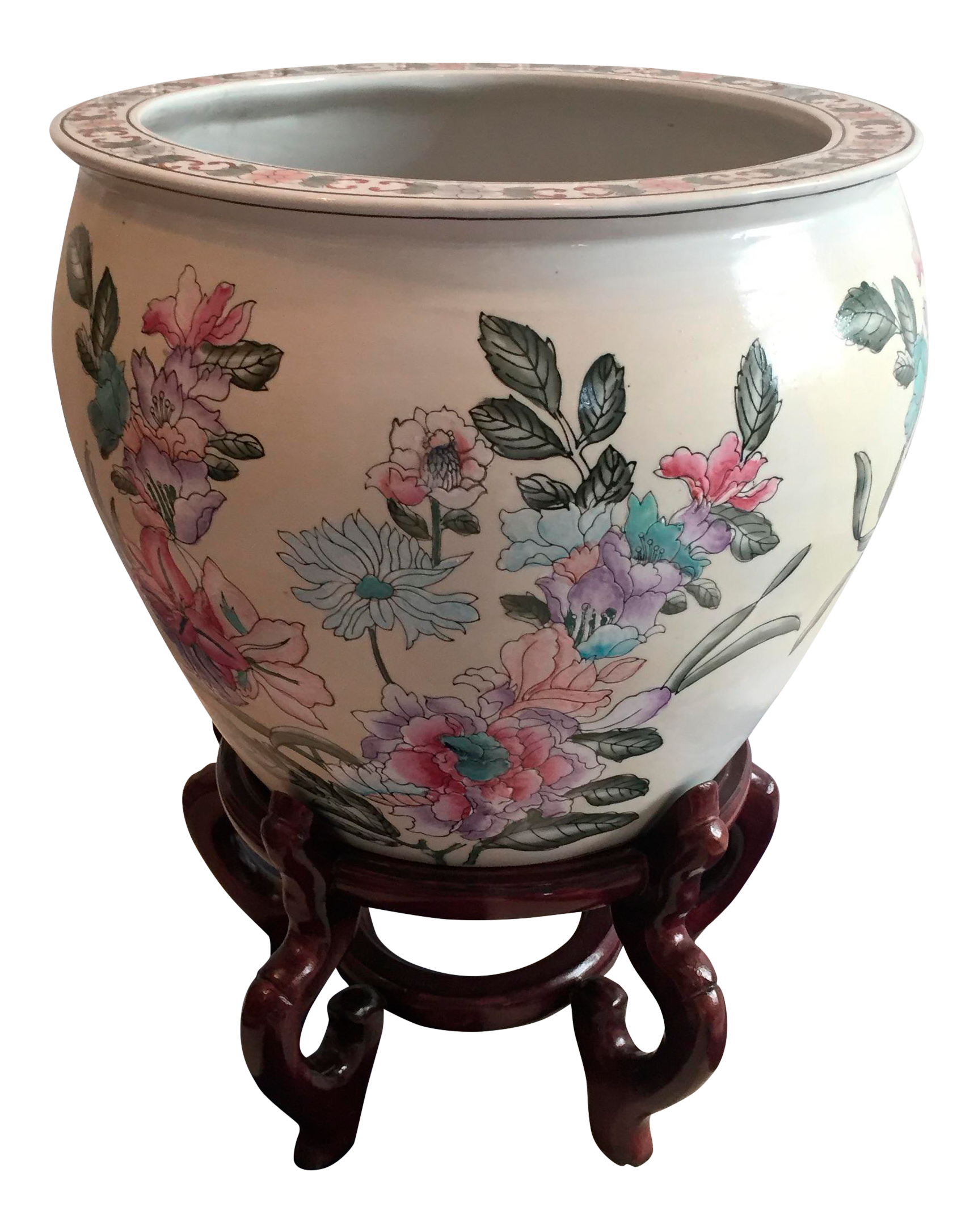 Chinese Porcelain Fish Bowl Jardiniere On Wooden Stand Chairish