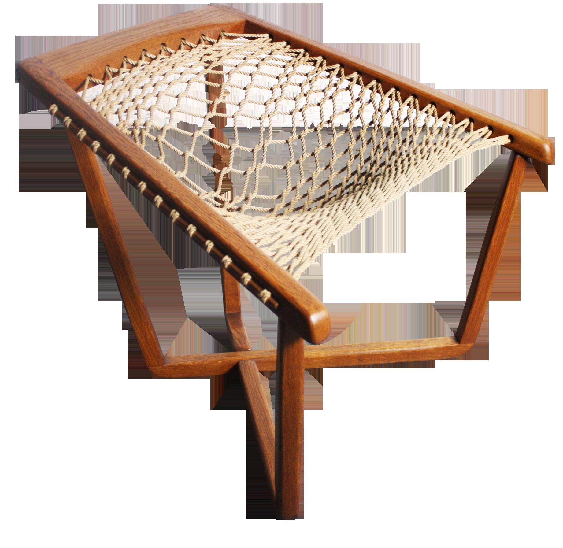 Rare Teak Cross Frame Mid Century Rope Chair Chairish