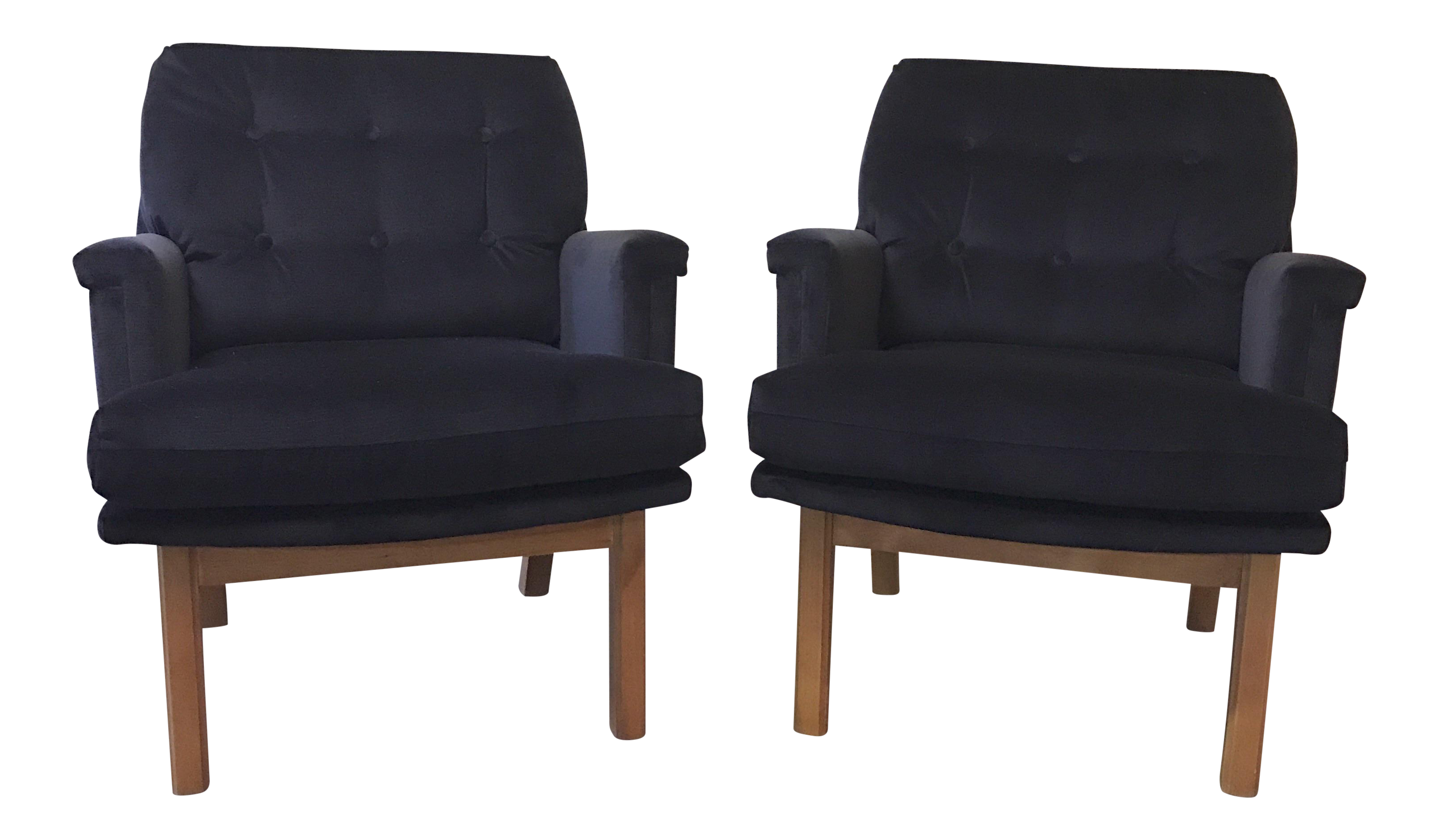 This mid century tufted club chairs is no longer available - Image Of Mid Century Tufted Indigo Velvet Armchairs A Pair