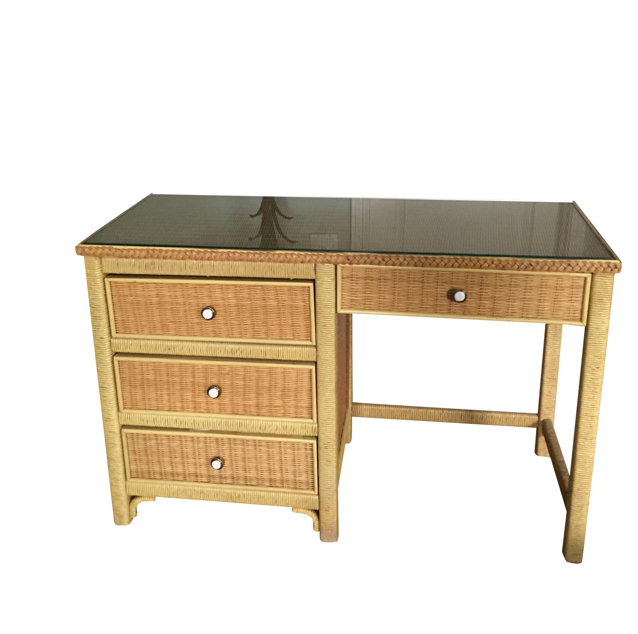 Henry Link Mid Century Wicker Desk Chairish