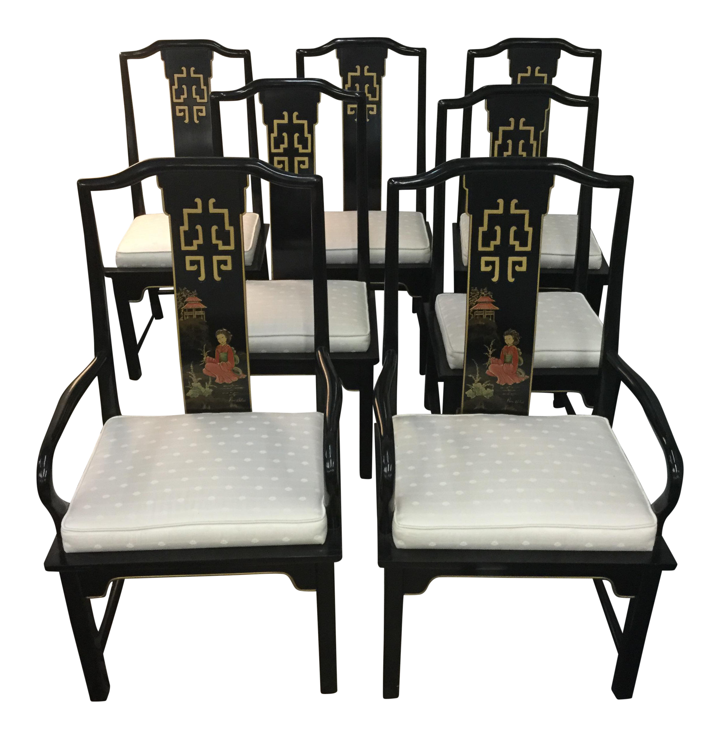 Century asian style dining room chairs set of 5 chairish for Asian style dining room furniture