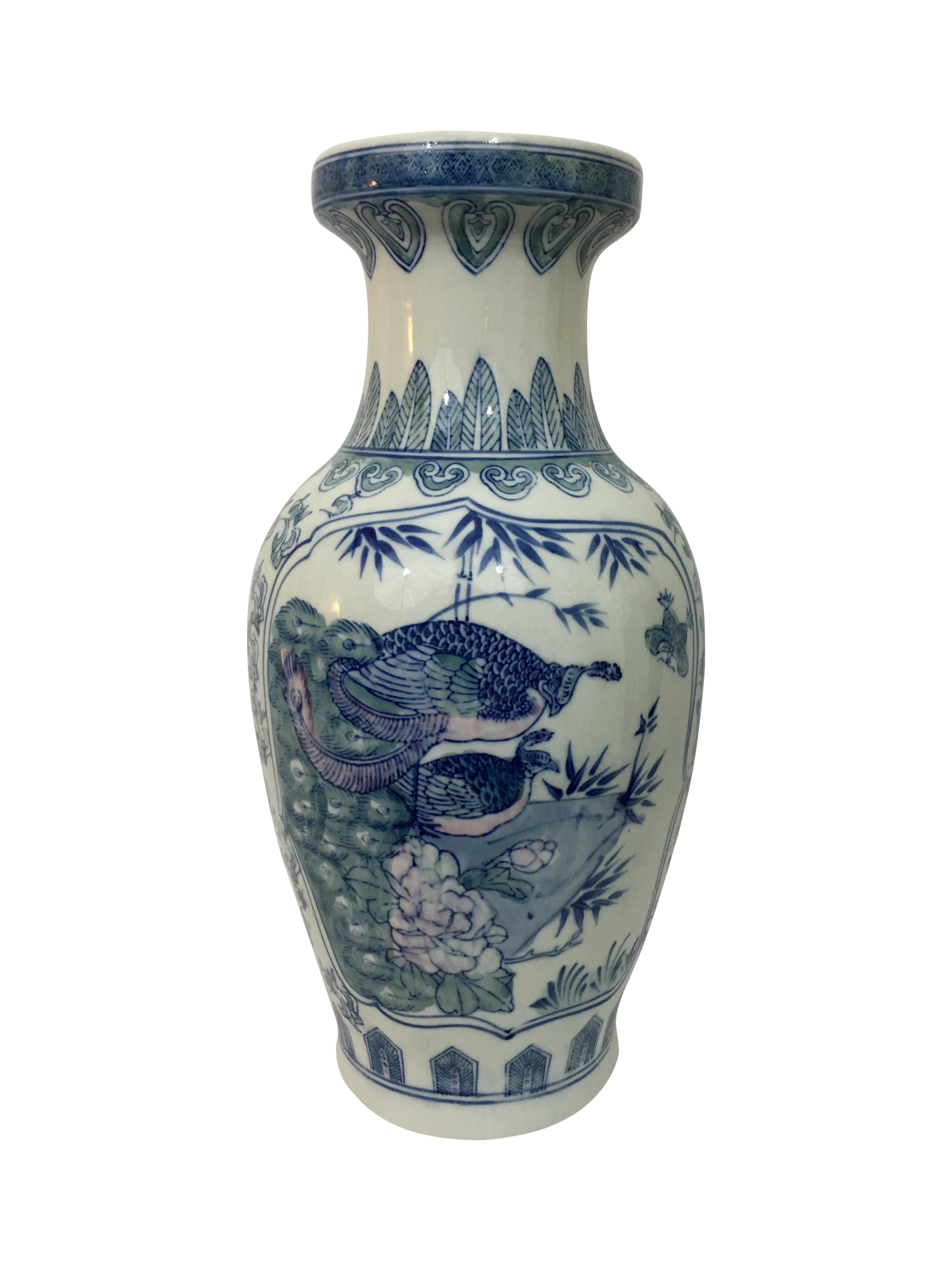 Vintage Chinoiserie Hand Painted Peacock Vase Chairish