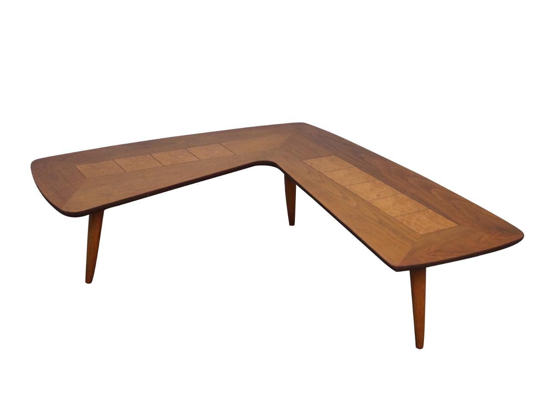 Lane mid century walnut boomerang coffee table chairish geotapseo Choice Image