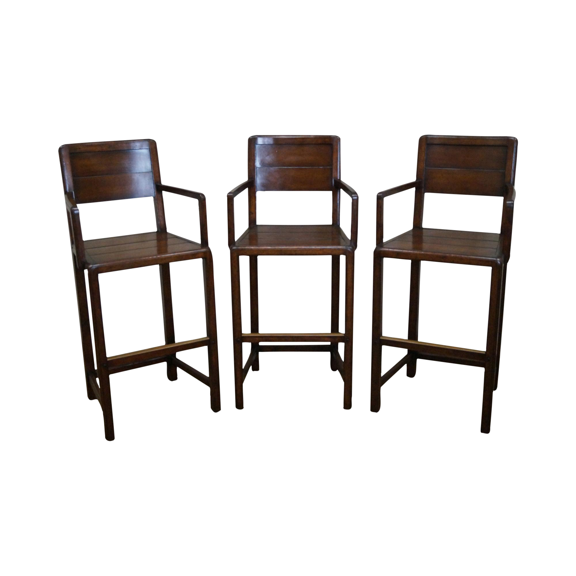 Jonathan Charles Country Farmhouse Walnut Bar Stools Set
