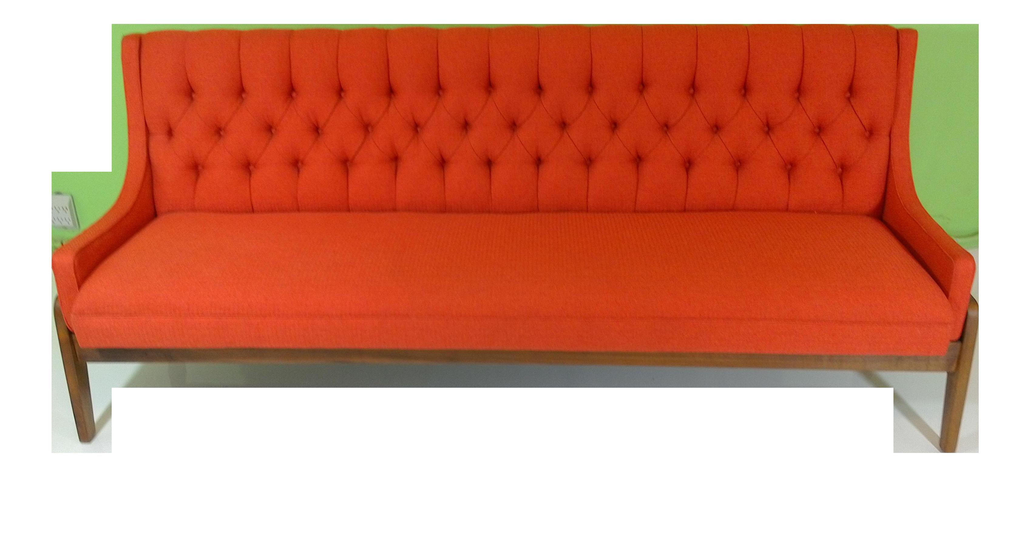 Mid Century Modern Orange Upholstered Narrow Sofa Chairish