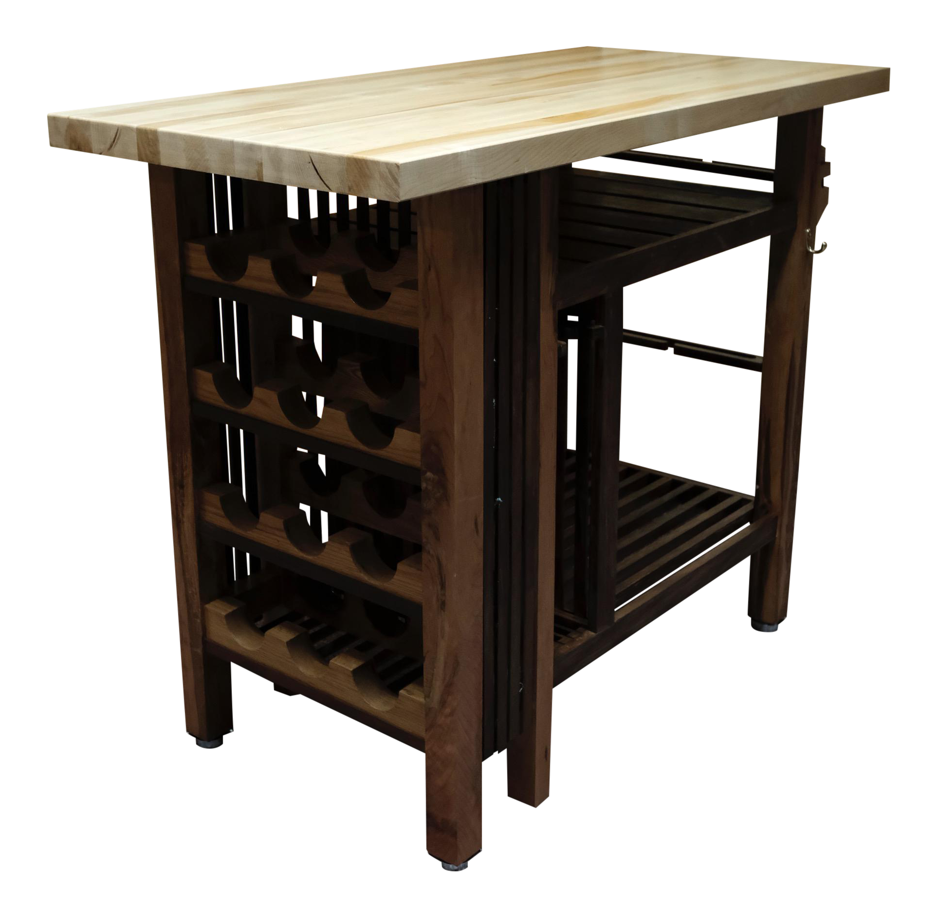 handcrafted kitchen island wine bar with butcher block chairish