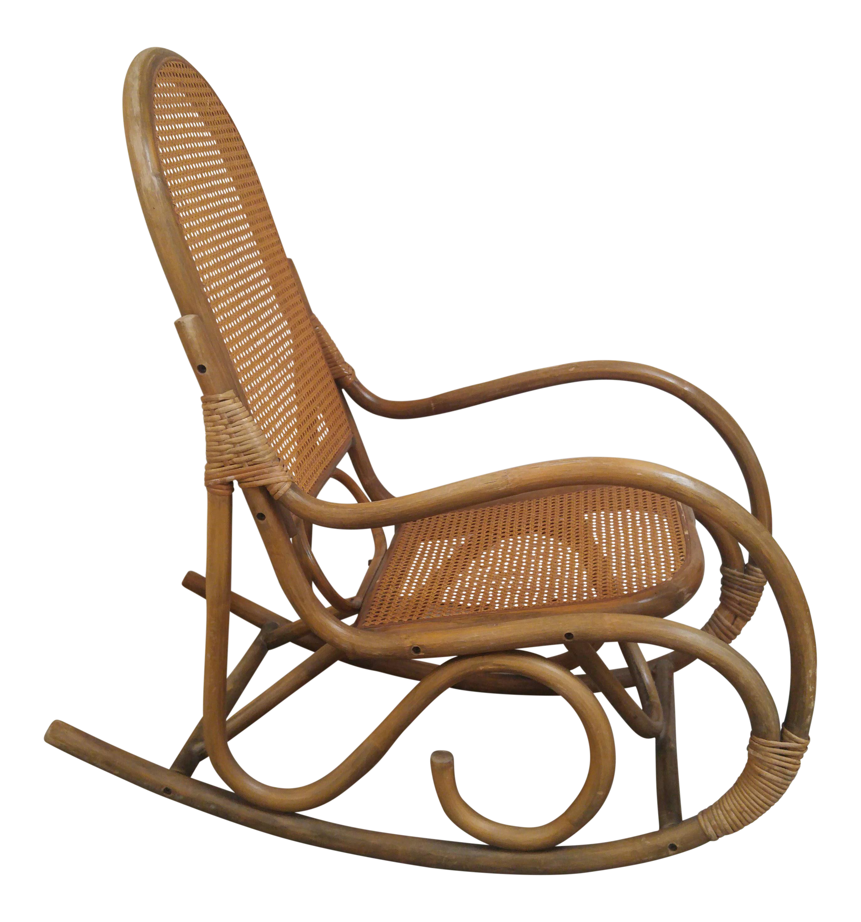 Cane Rocking Chair - Image of vintage bamboo cane franco albini style rocking chair