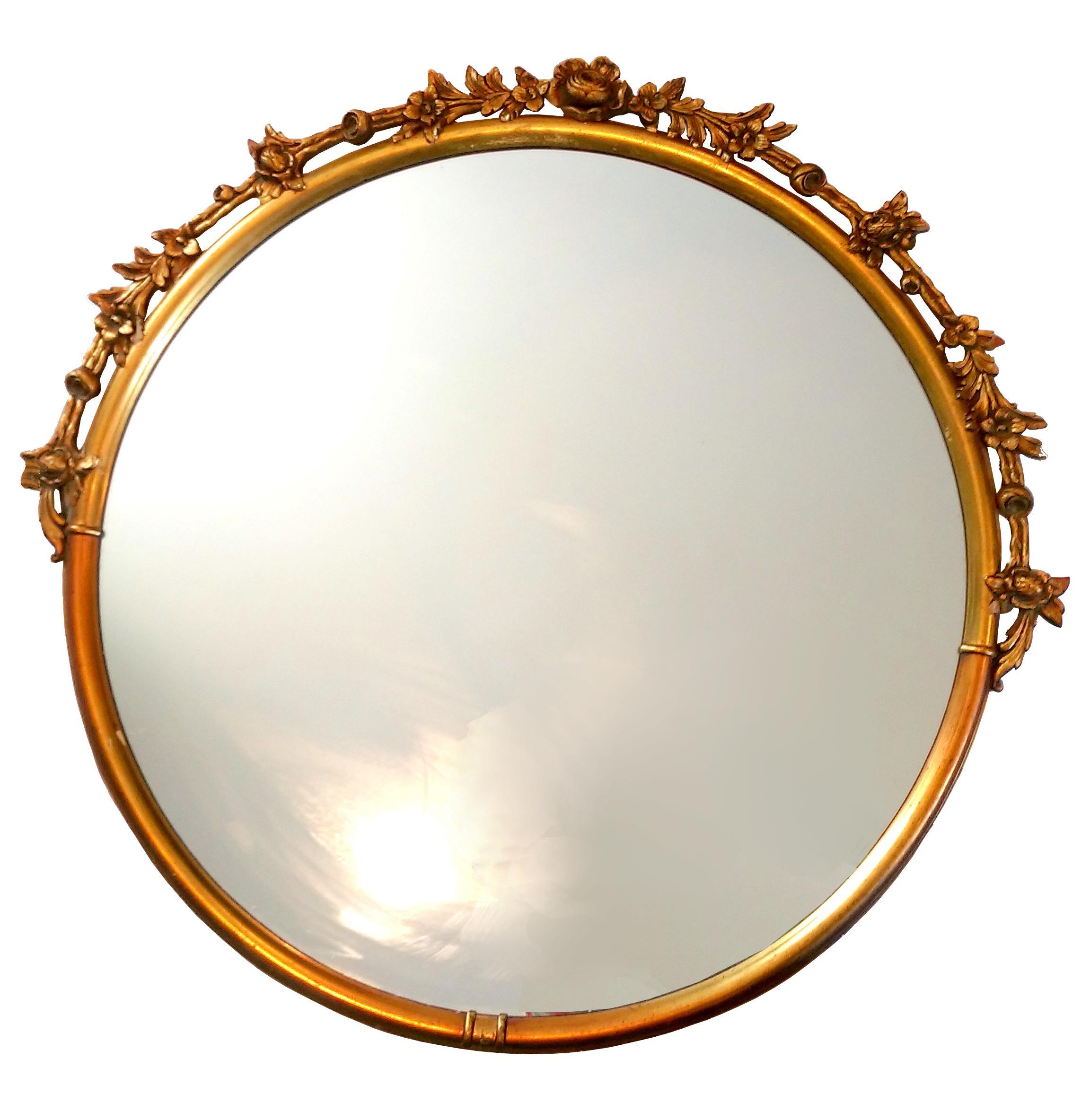 vintage gilded carved wood garland mirror chairish
