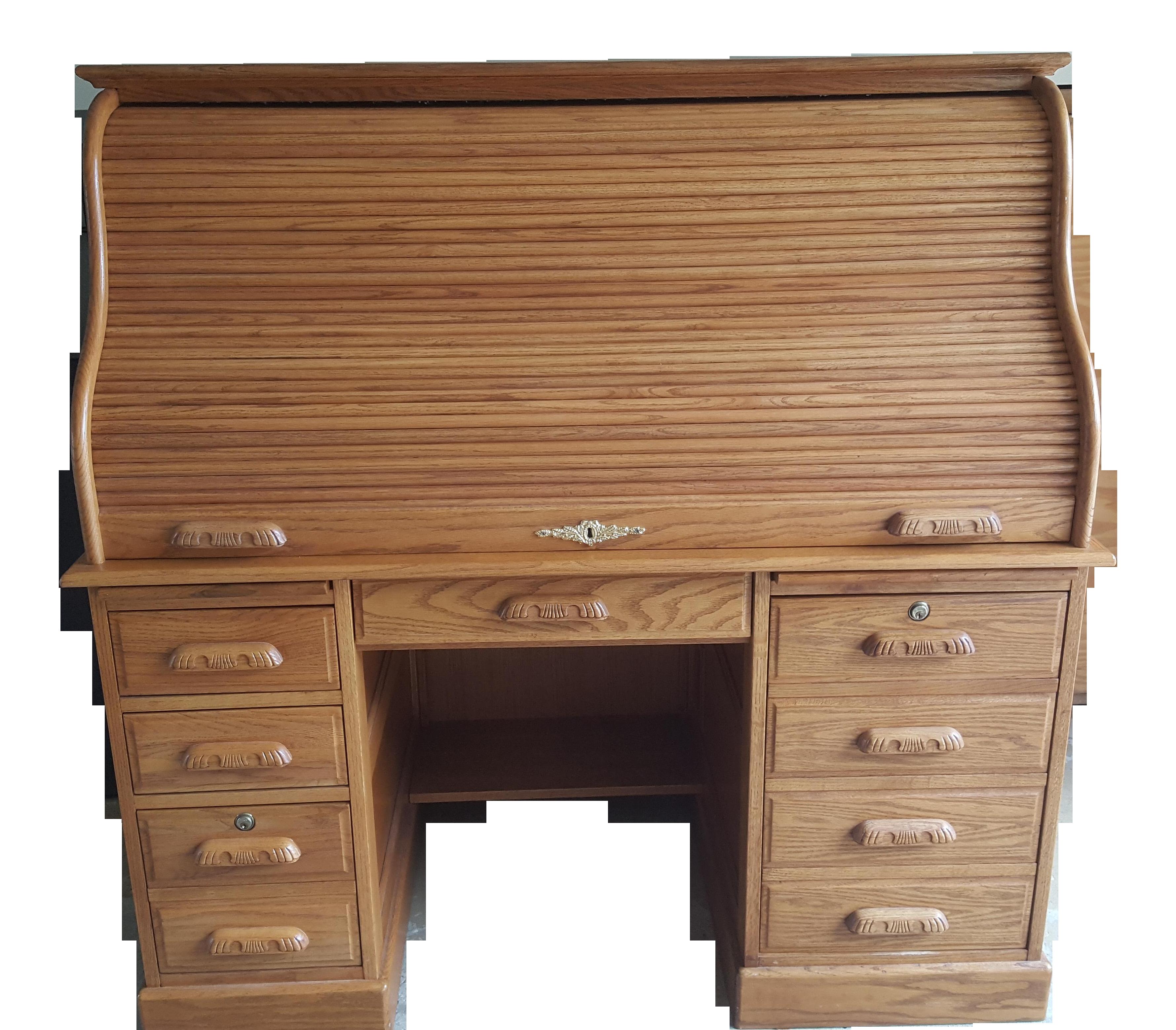 Carolina Desk Company Solid Oak Roll Top Desk Chairish