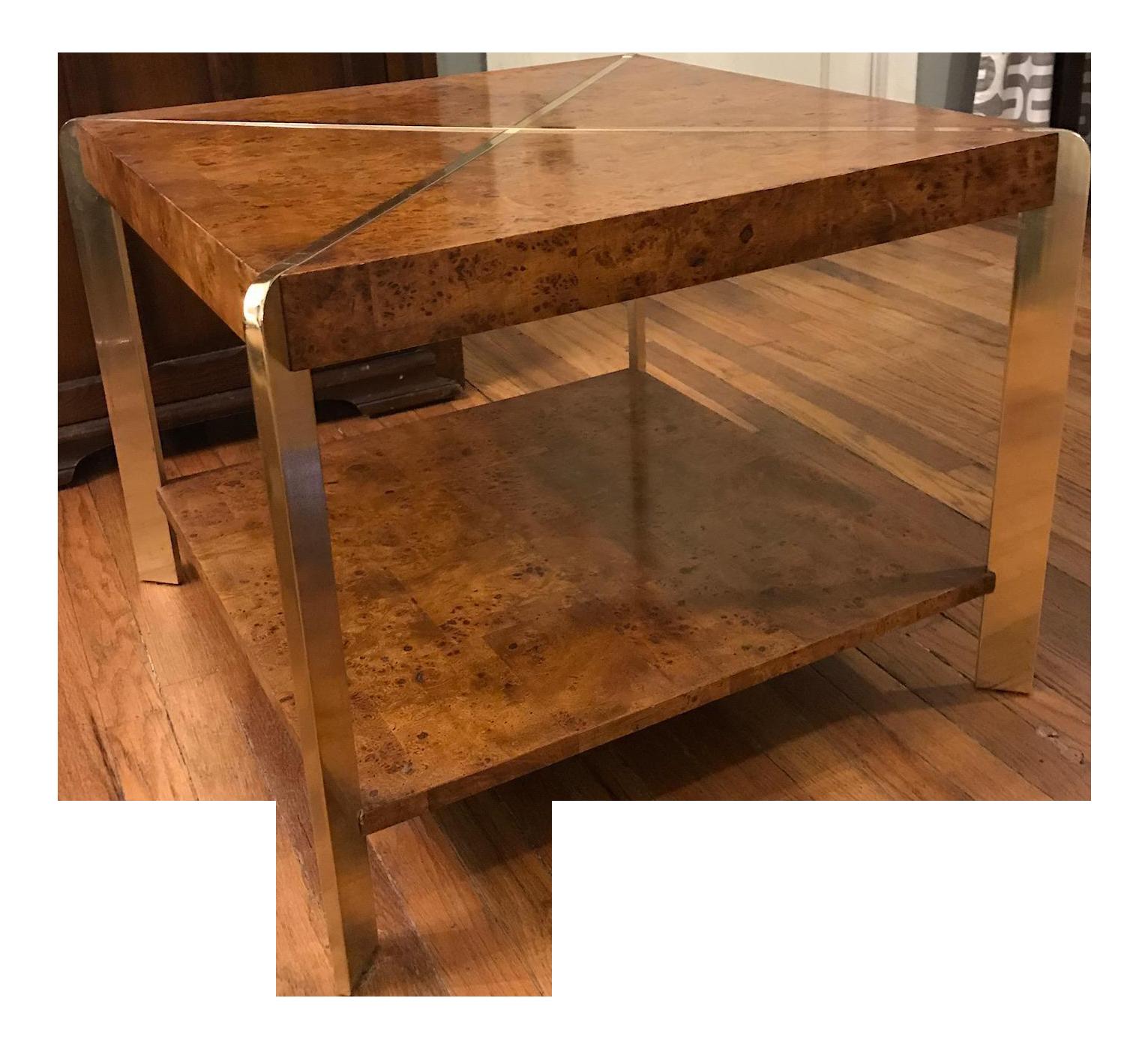 Image Of Vintage Brass Burl Wood Coffee Table