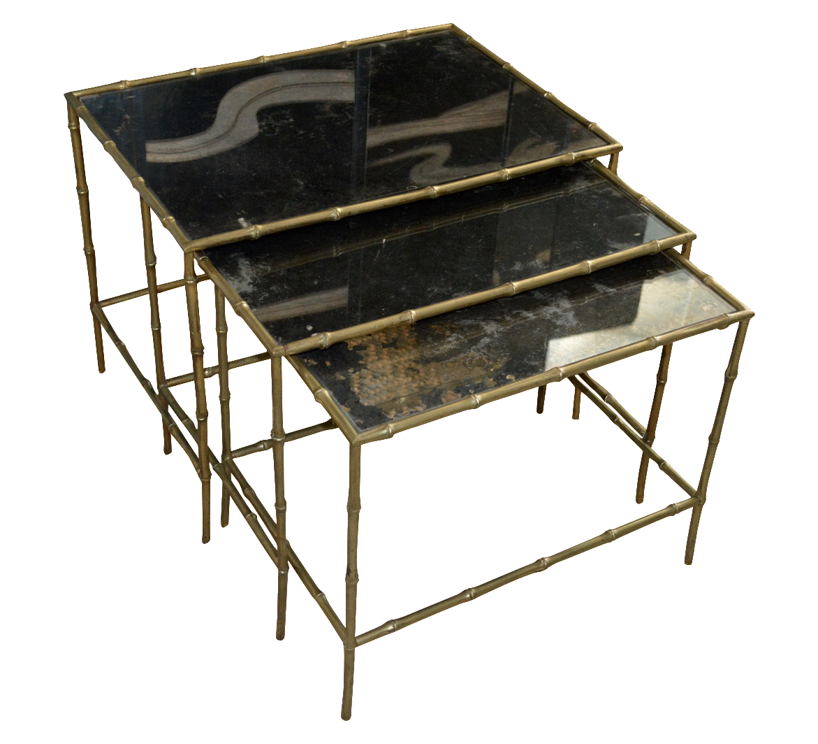 Vintage Brass Bamboo Nesting Tables Set Of 3 Chairish. Full resolution  image, nominally Width 1171 Height 1064 pixels, image with #5D4E2D.