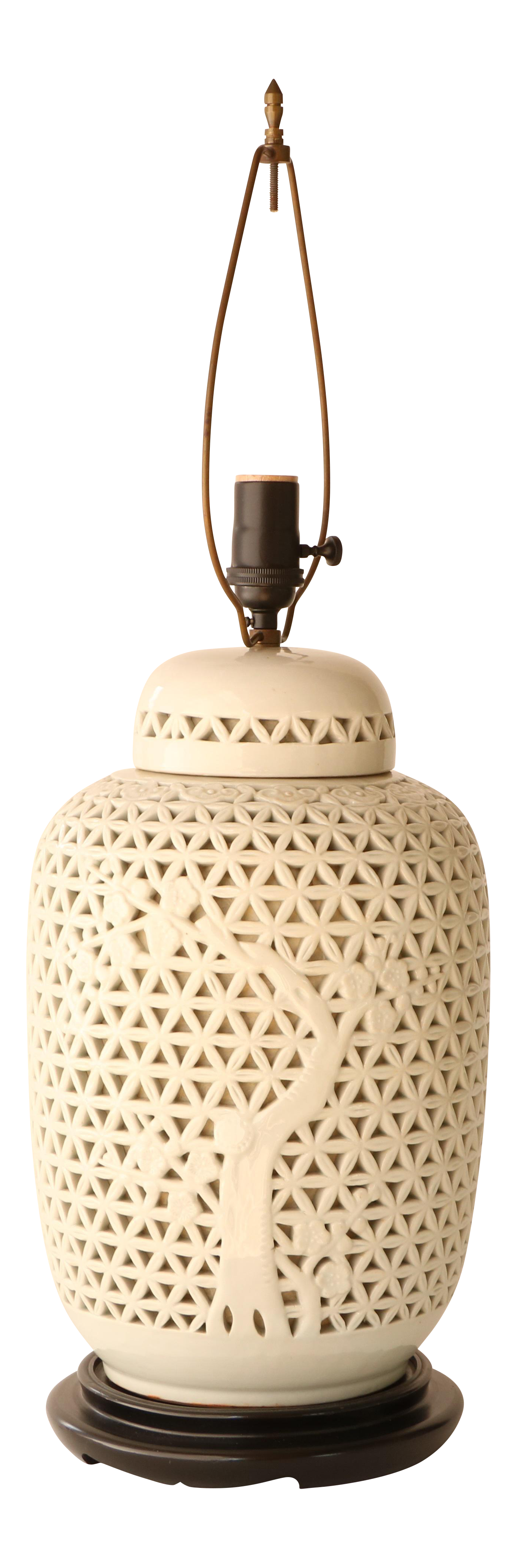 Reticulated porcelain blanc de chine table lamp chairish for Table de chine