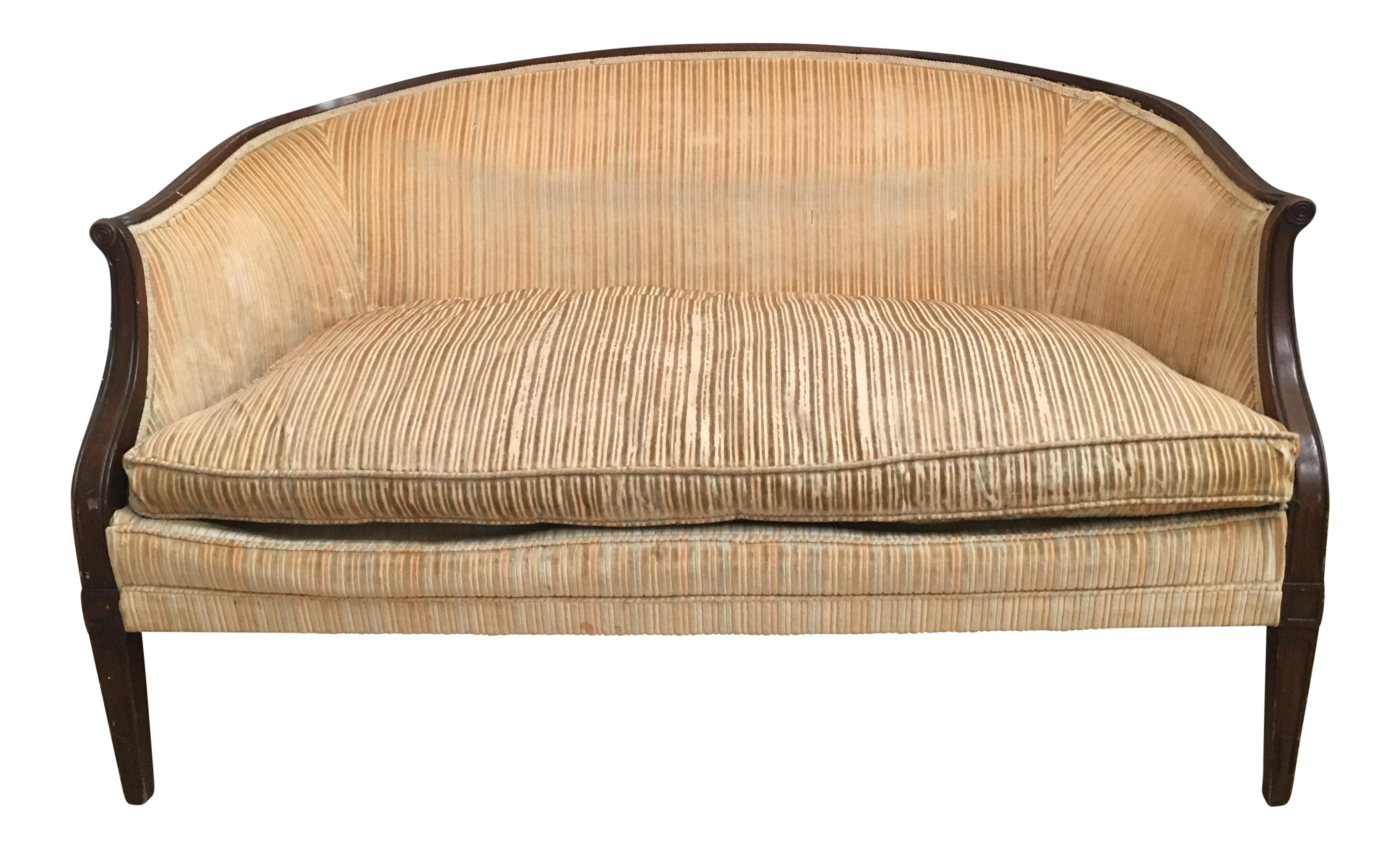 Antique Yellow Striped Velvet Loveseat Chairish