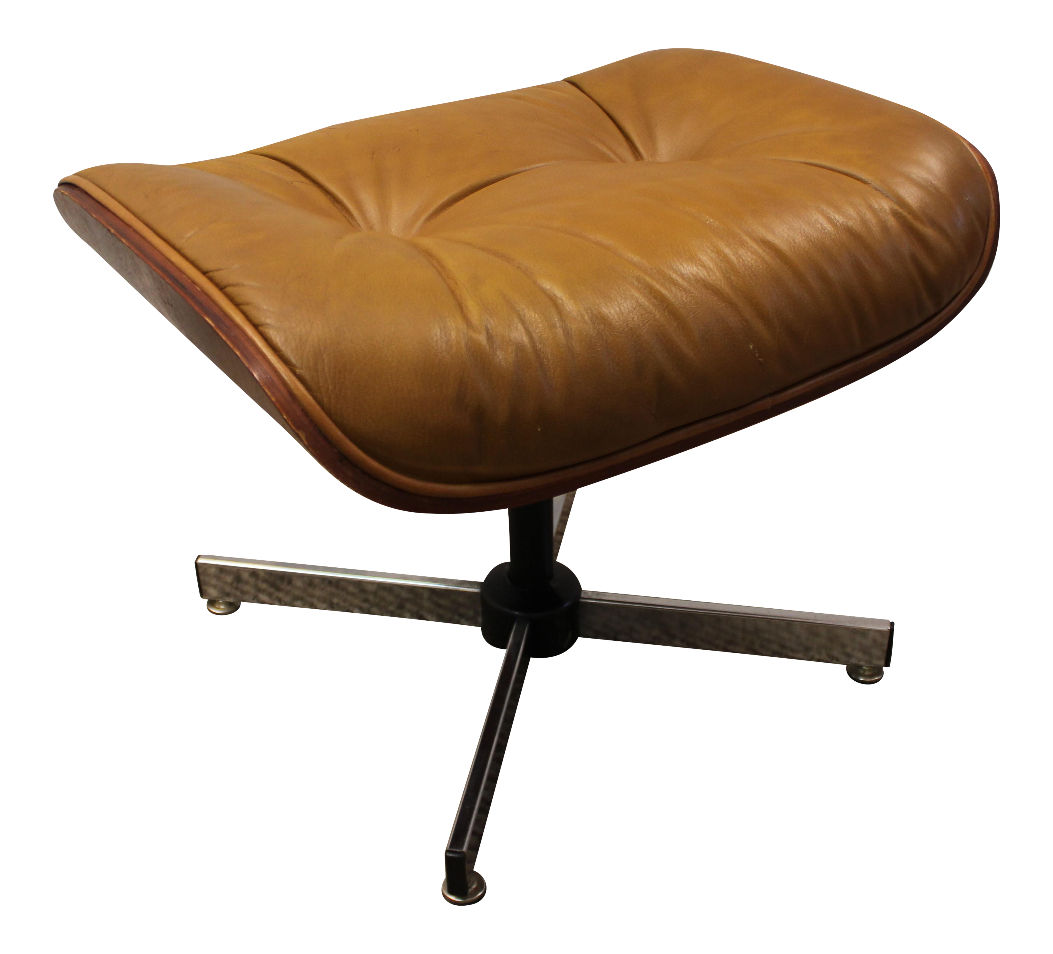 Mid century danish selig eames leather foot stool chairish - Selig eames chair ...