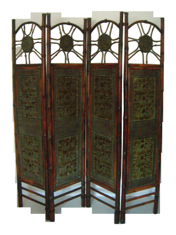 oriental elephant  bamboo room divider  chairish -
