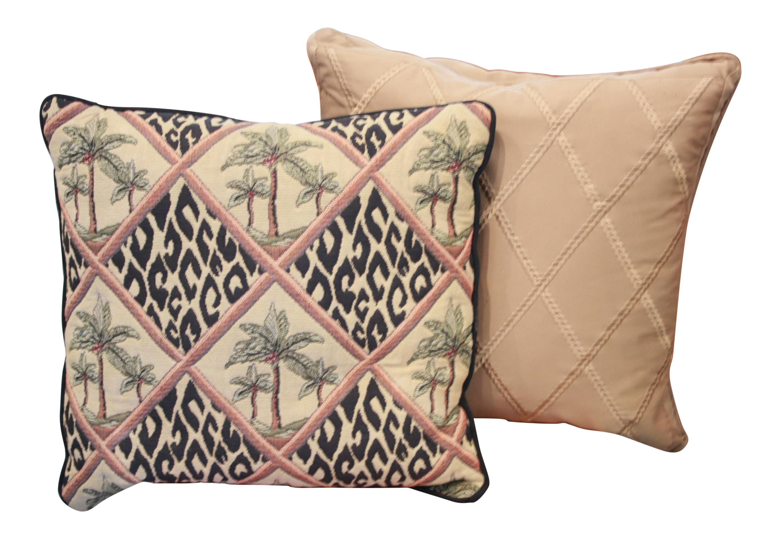 Animal Print Needlepoint Pillows : Animal Print Palm Trees Pillows - a Pair Chairish