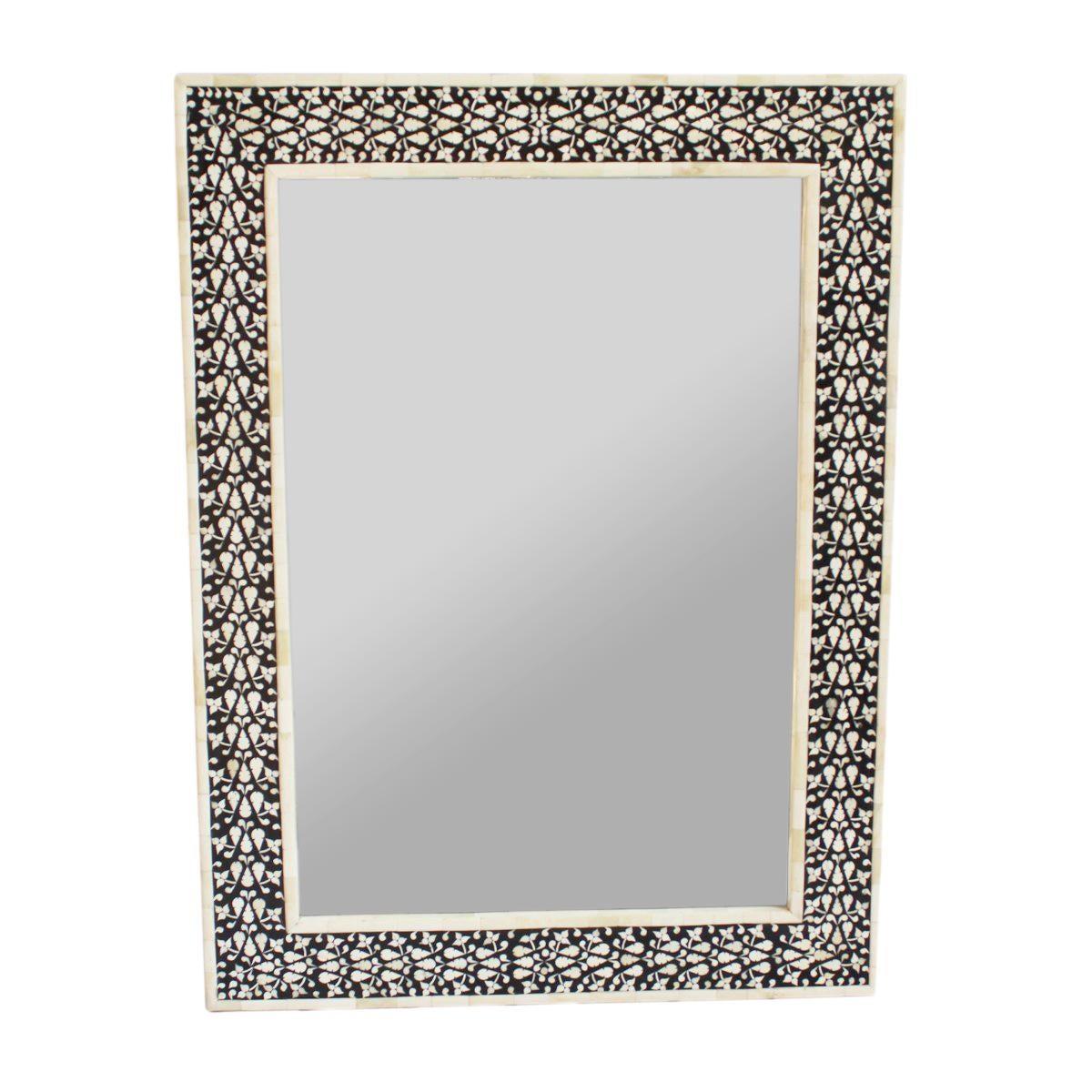 black white inlay mirror chairish. Black Bedroom Furniture Sets. Home Design Ideas