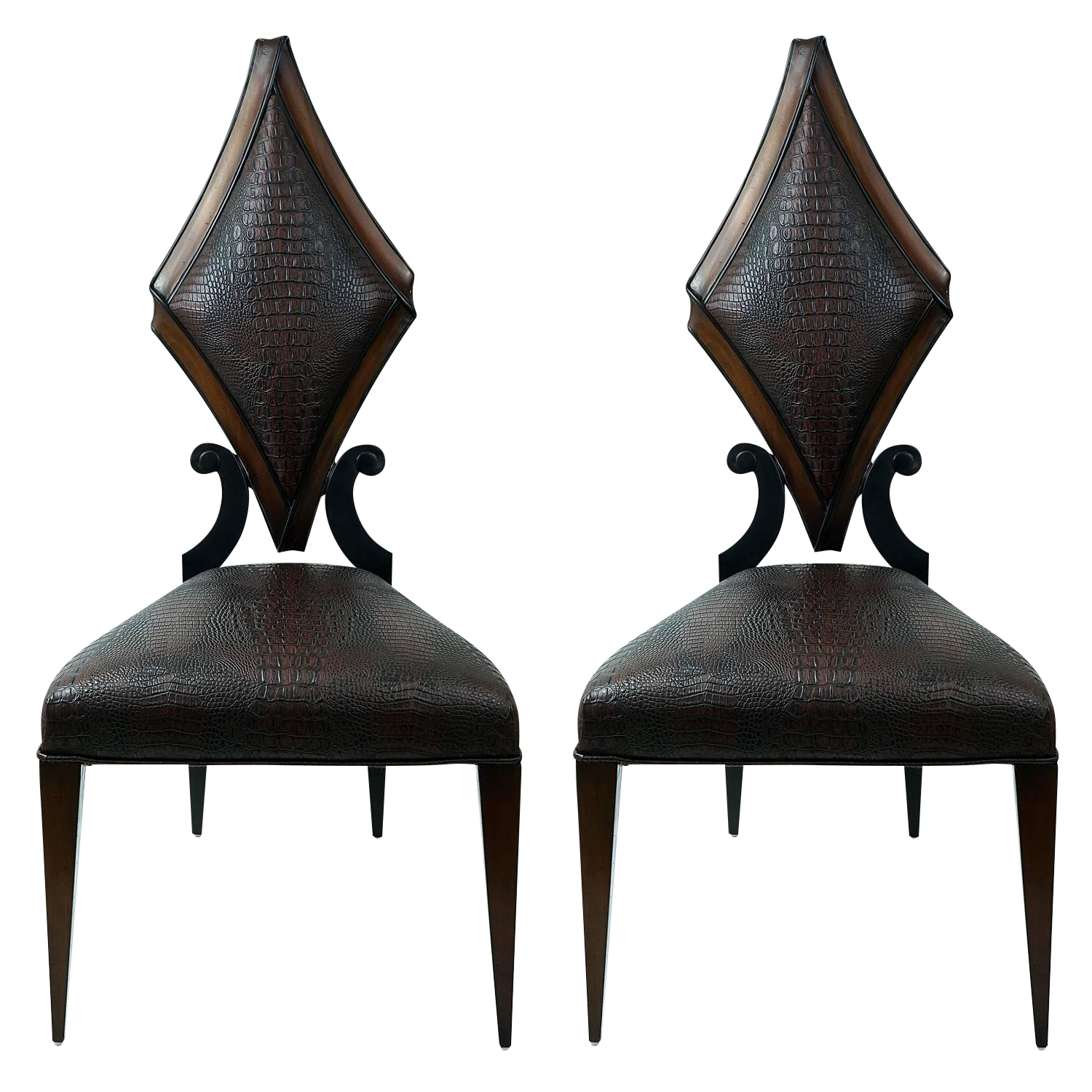 Art Deco Style Chairs - Image of pair of art deco style side chairs in faux alligator by christopher guy