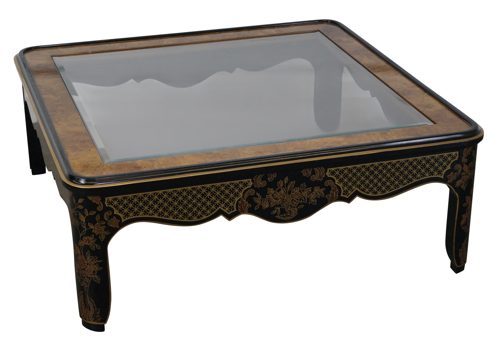 drexel heritage square burl wood coffee table | chairish