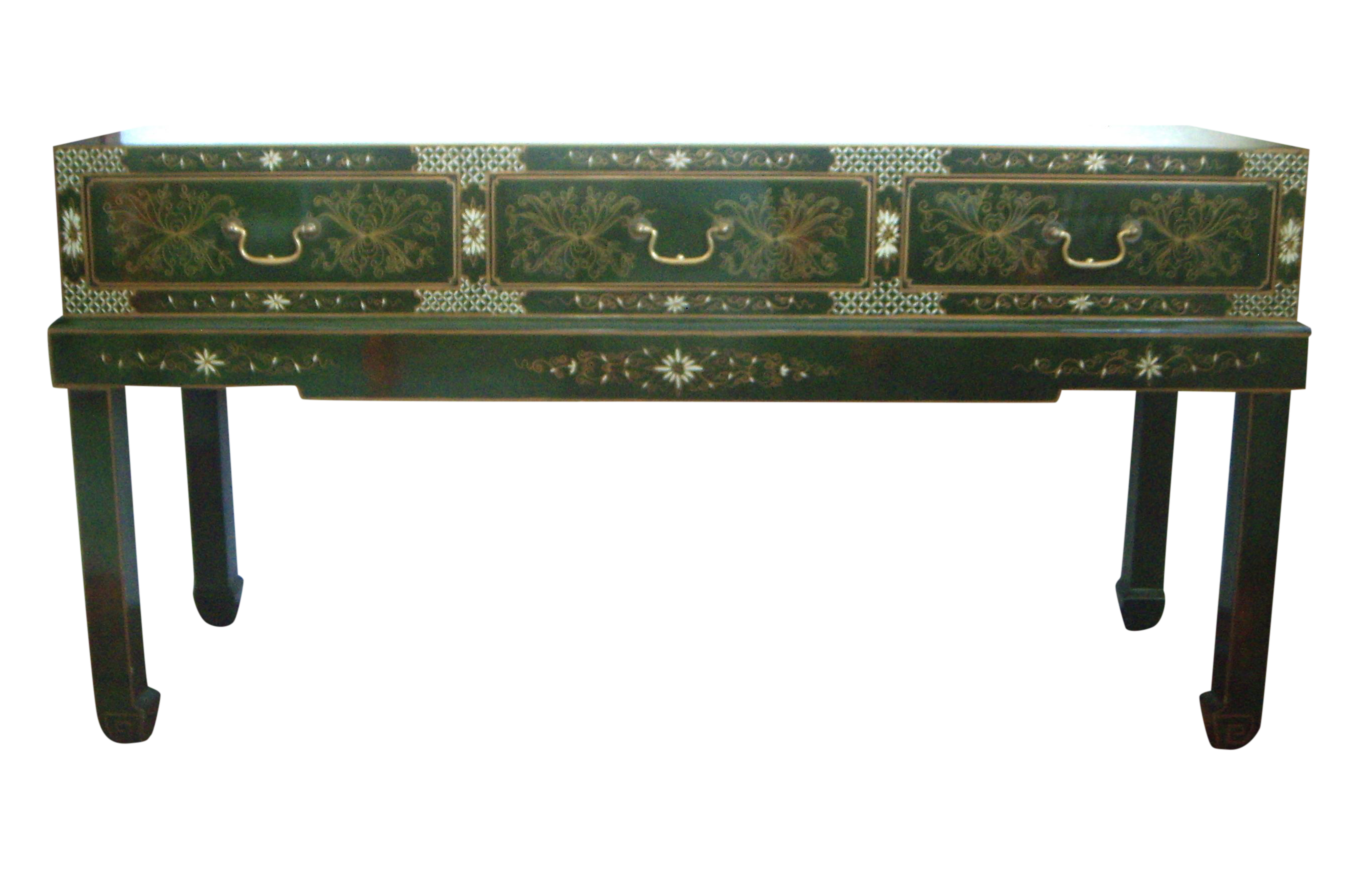 Oriental console table green lacquer chairish geotapseo Gallery