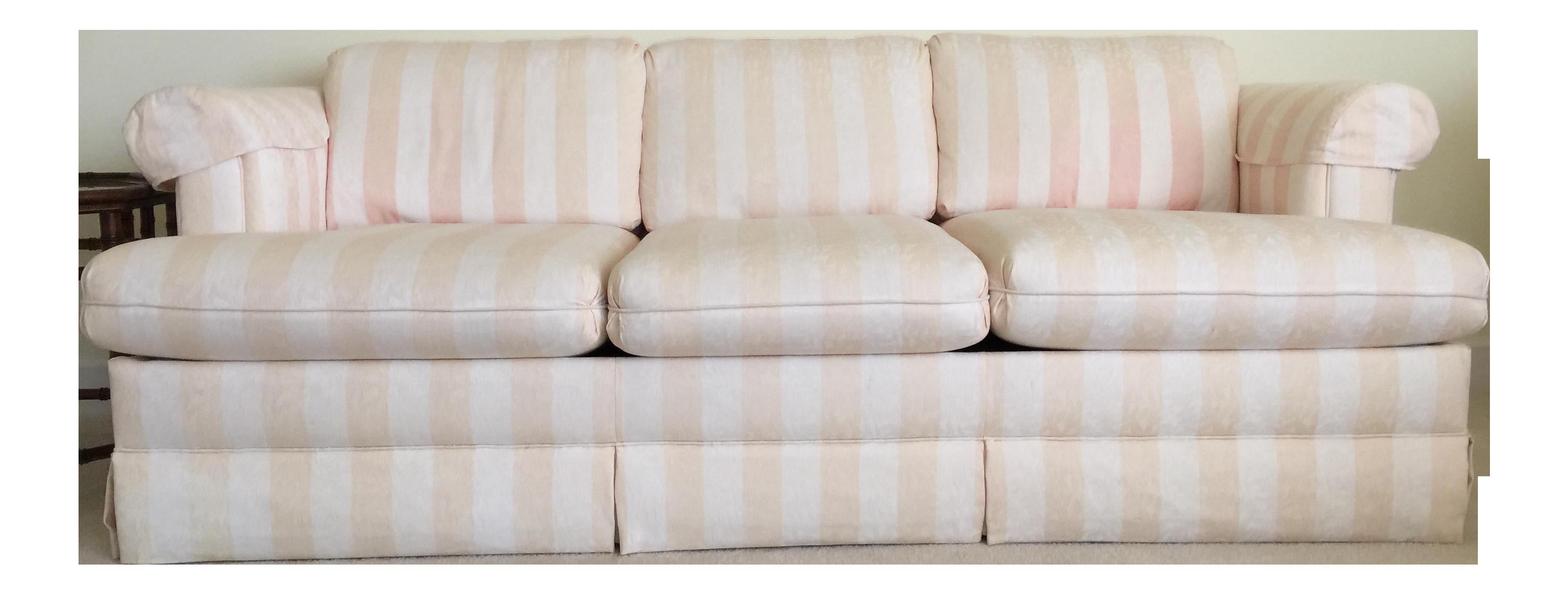 Cream Amp Peach Striped Queen Sleeper Sofa Chairish