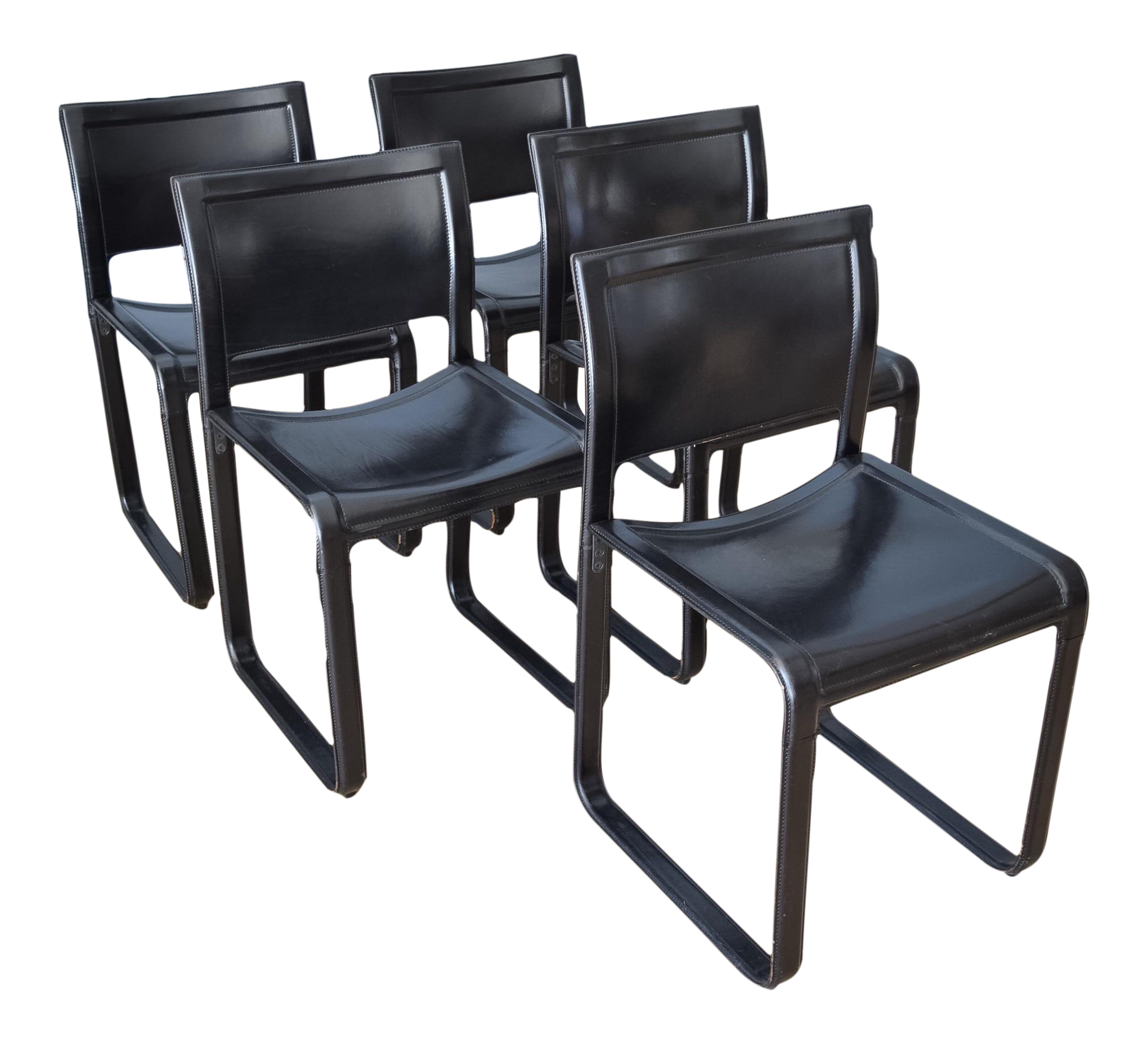 Matteo Grassi Sistina Strap Black Leather Dining Chairs Set of 5
