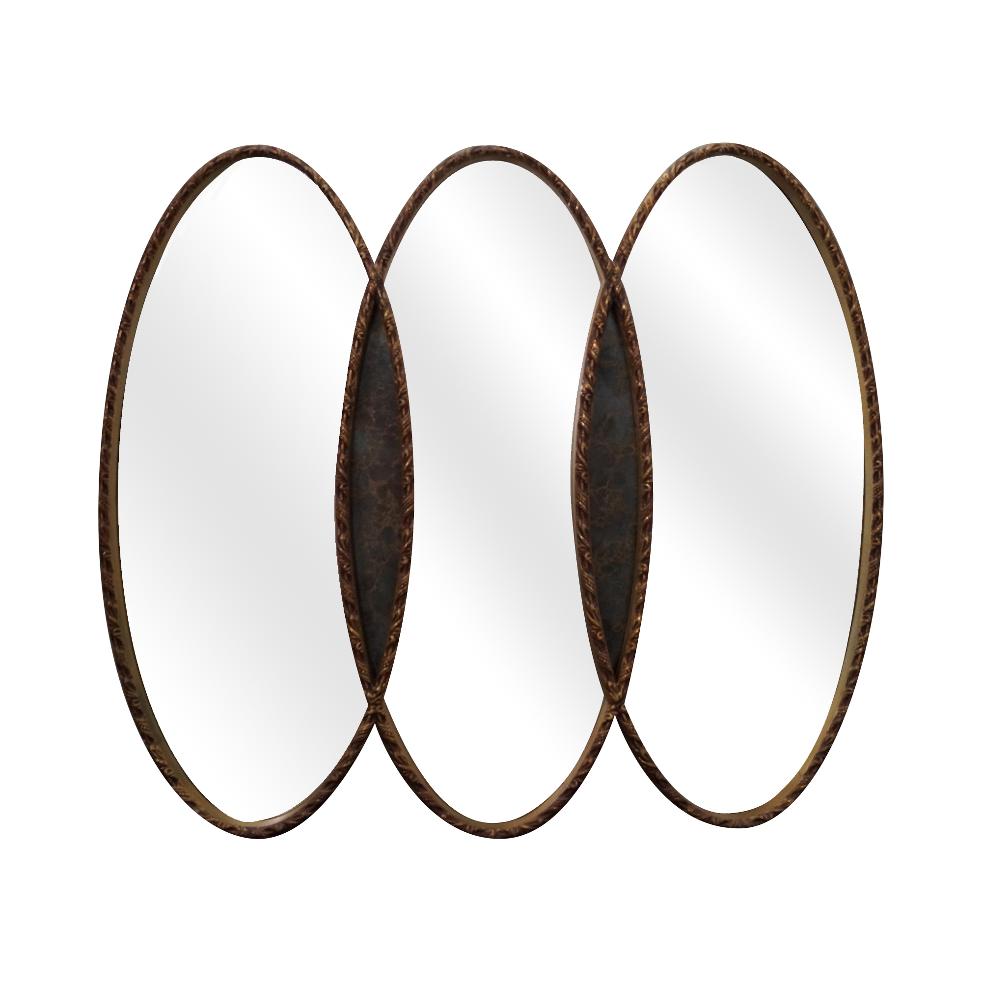 image of gold triple oval wall mirror