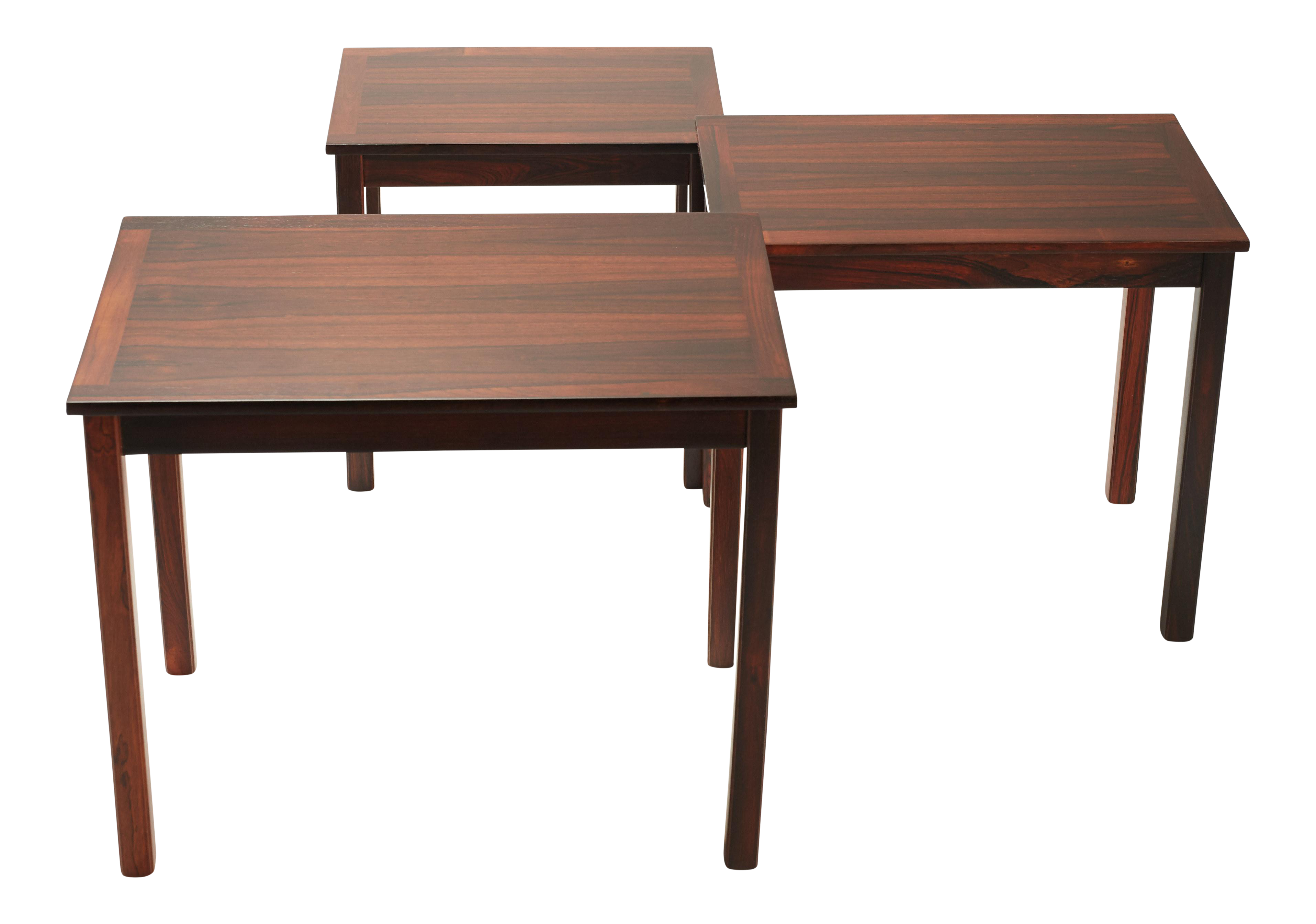 Image Of Three Danish Modern Nesting Tables In Rosewood