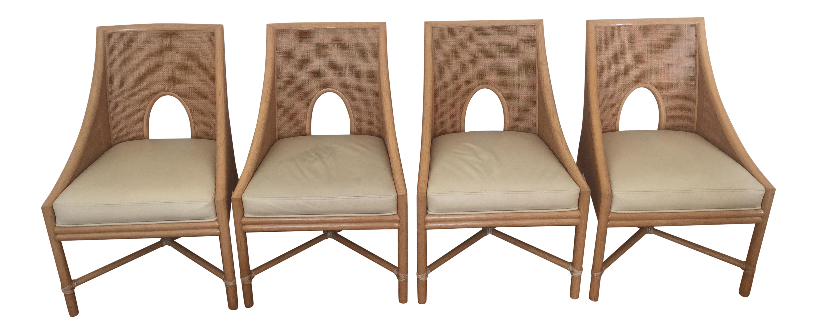 Mcguire Barbara Barry Petite Caned Arm Chairs Set Of 4