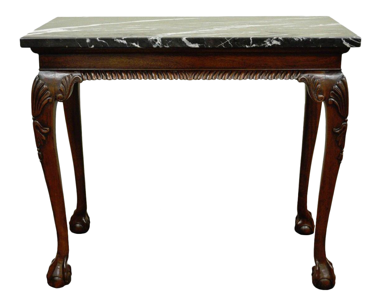 Vintage chippendale style carved mahogany ball and claw marble top vintage chippendale style carved mahogany ball and claw marble top console table chairish geotapseo Gallery